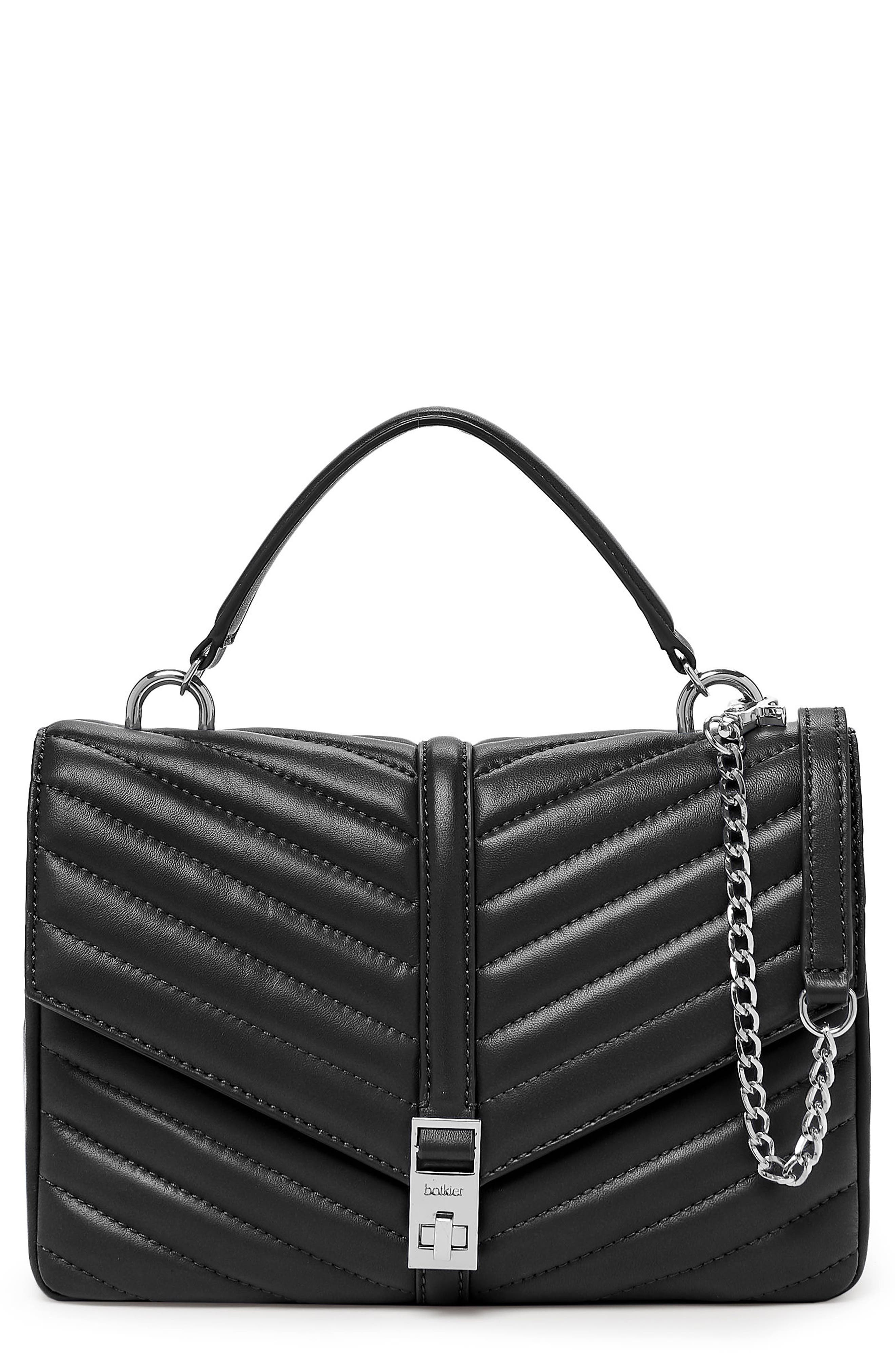 Dakota Quilted Leather Top Handle Bag,                         Main,                         color, BLACK