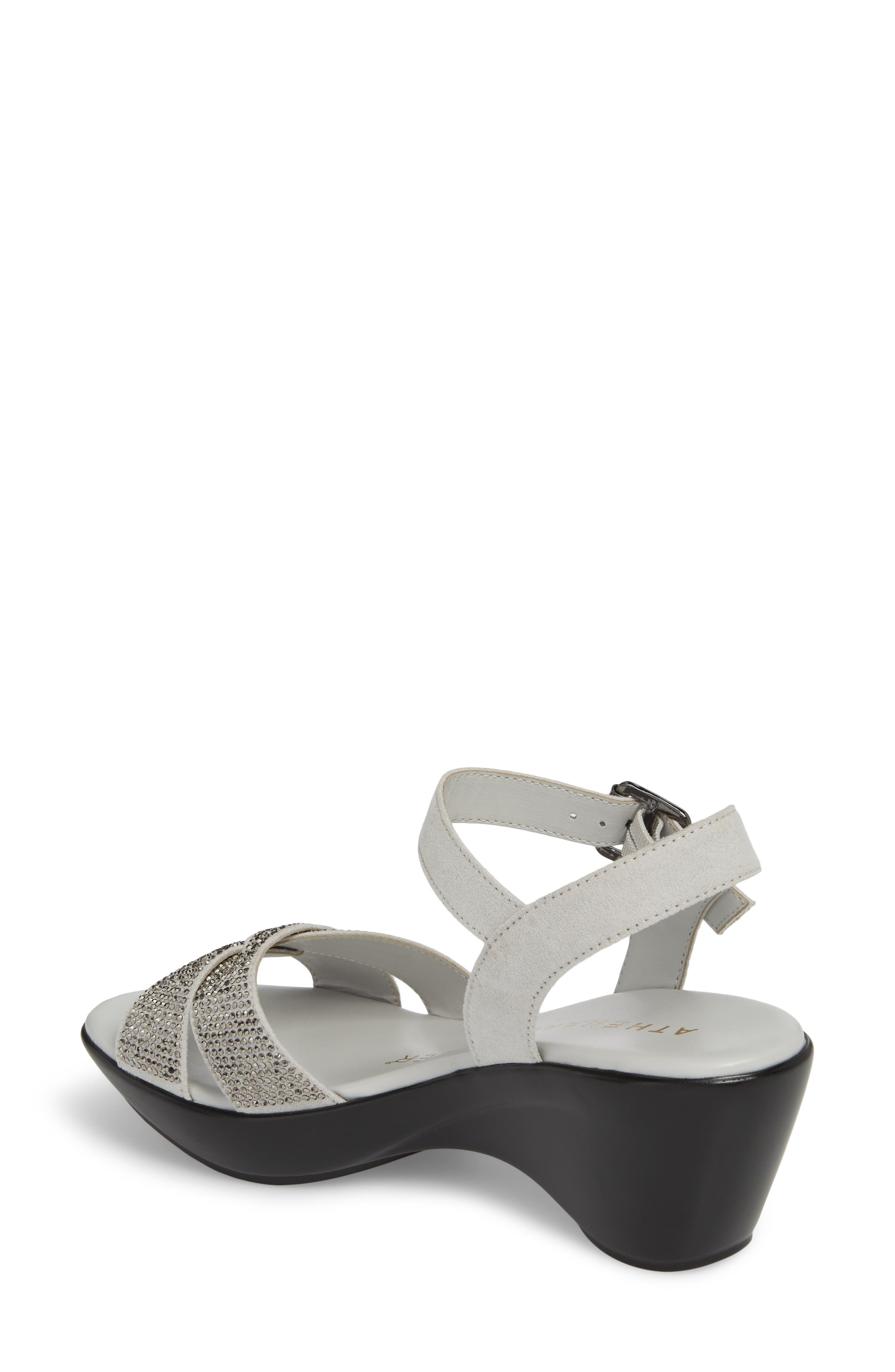 Florence Wedge Sandal,                             Alternate thumbnail 2, color,                             GREY FAUX SUEDE