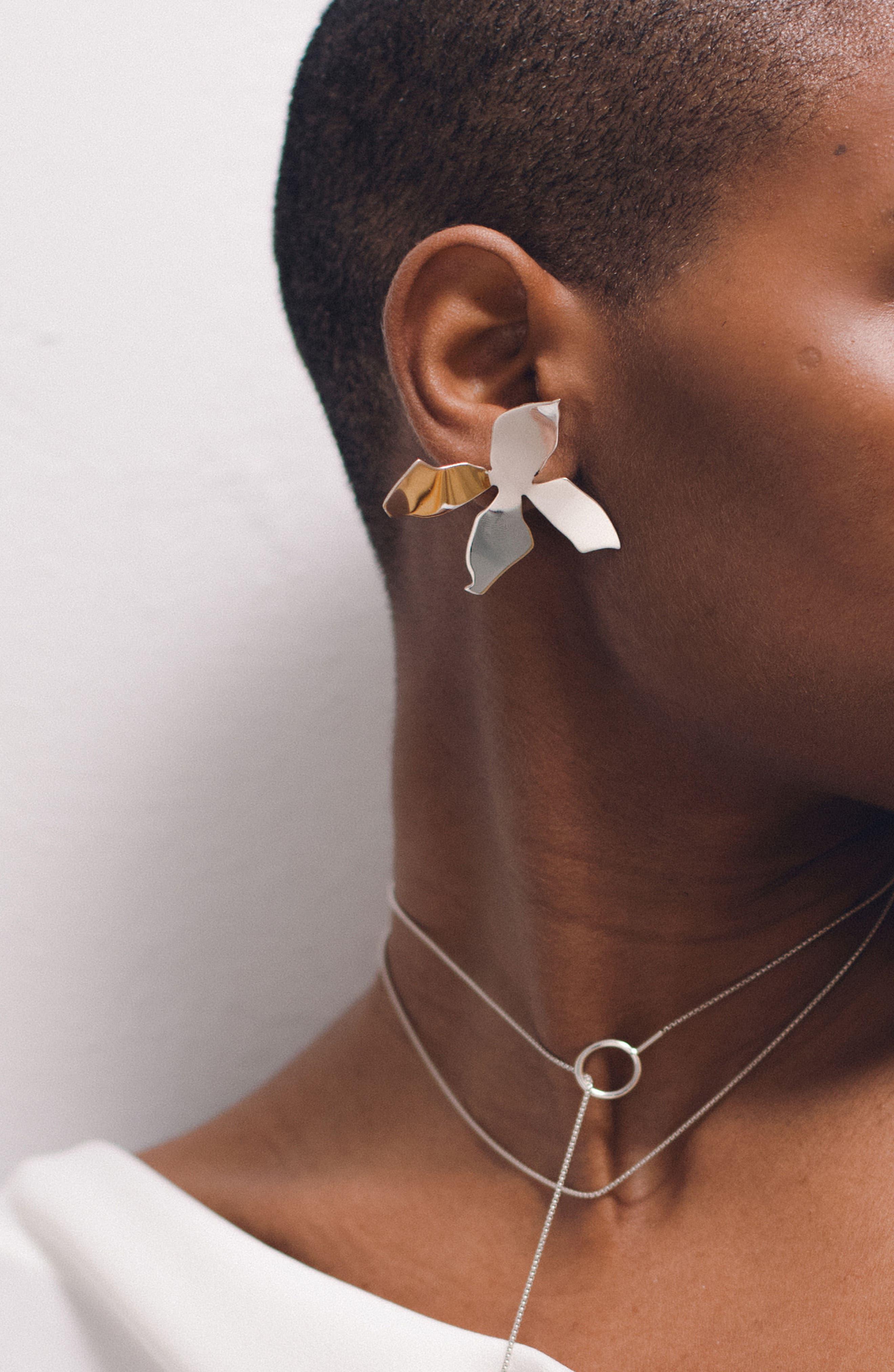 Medium Ladyday Drop Earrings,                             Alternate thumbnail 3, color,                             STERLING SILVER