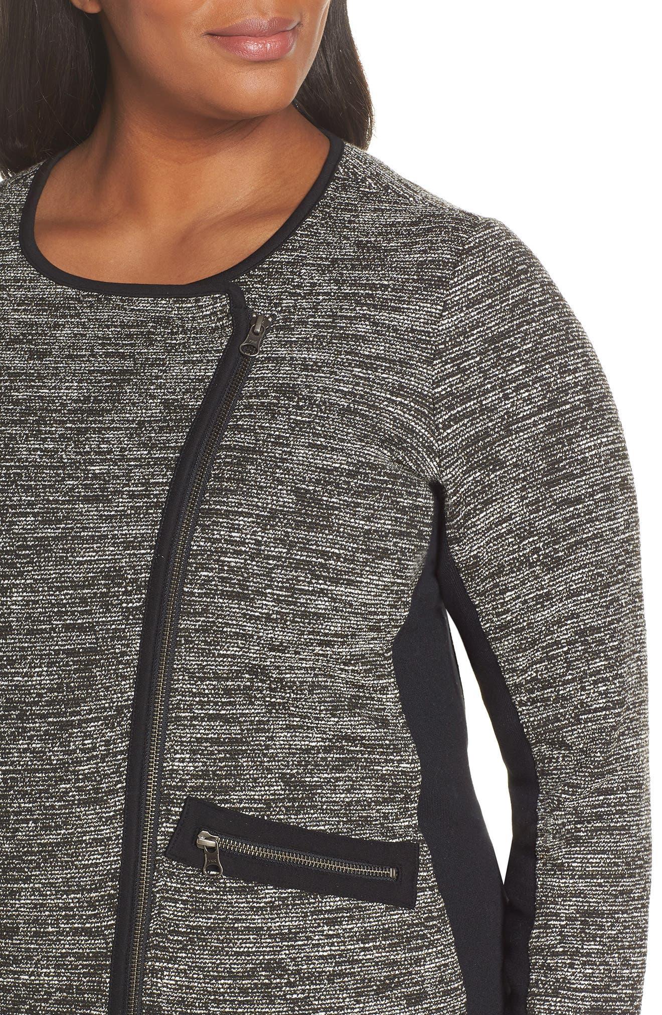 Mix Media Knit Jacket,                             Alternate thumbnail 4, color,                             BLACK TWEED