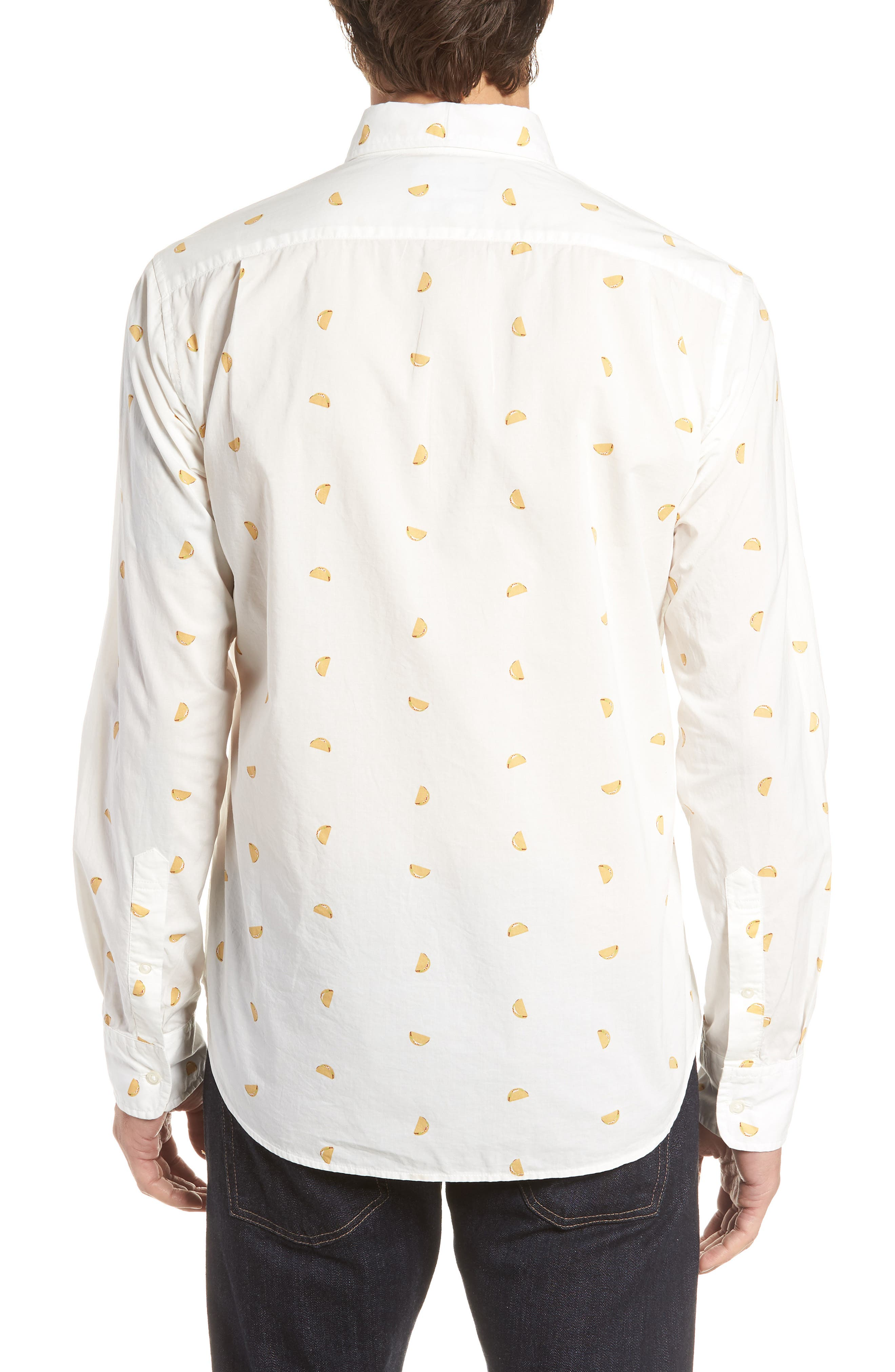 Summerweight Slim Fit Taco Print Sport Shirt,                             Alternate thumbnail 2, color,                             100