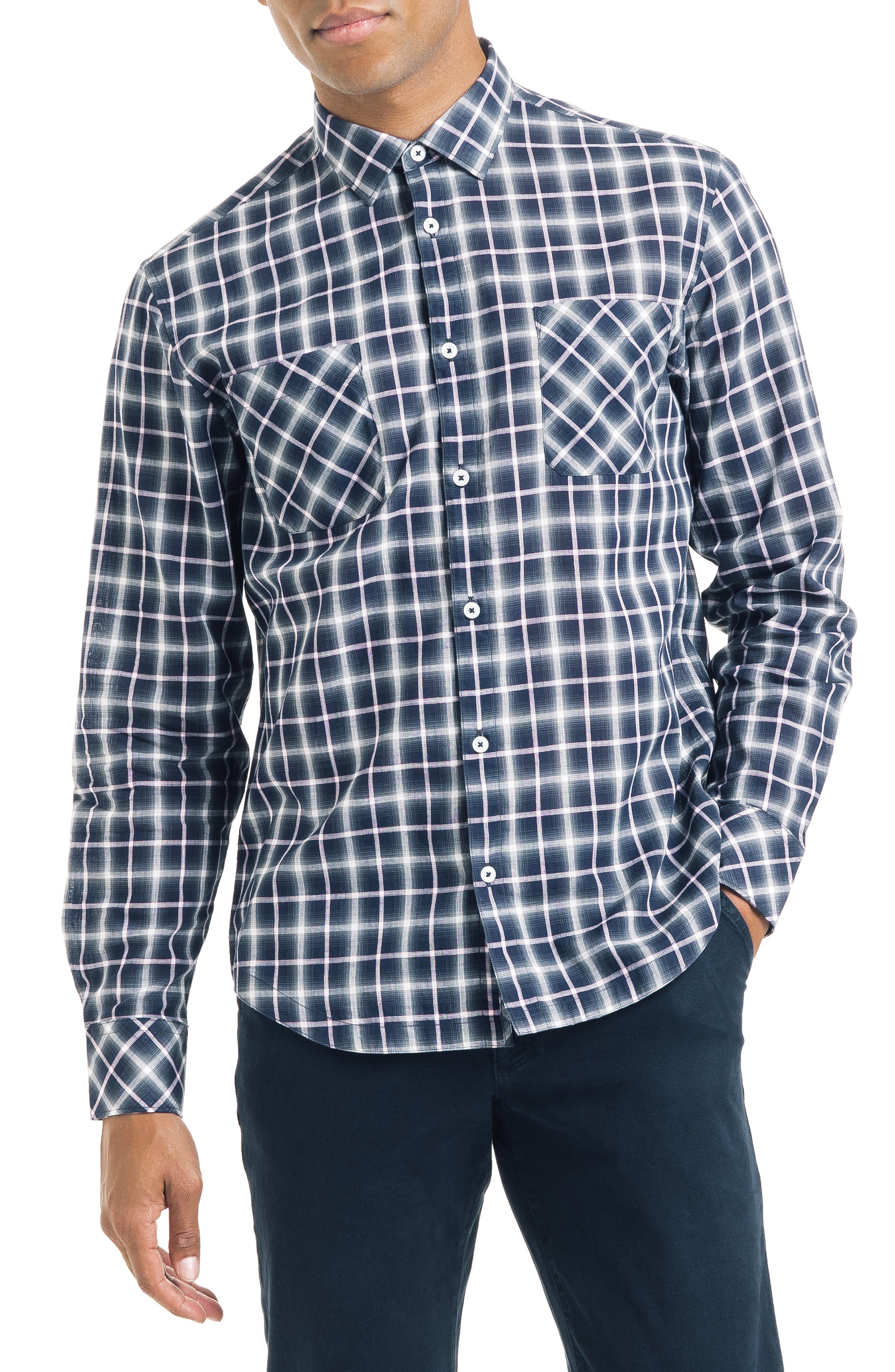 Bias Slim Fit Ombré Plaid Sport Shirt,                         Main,                         color, BLUE