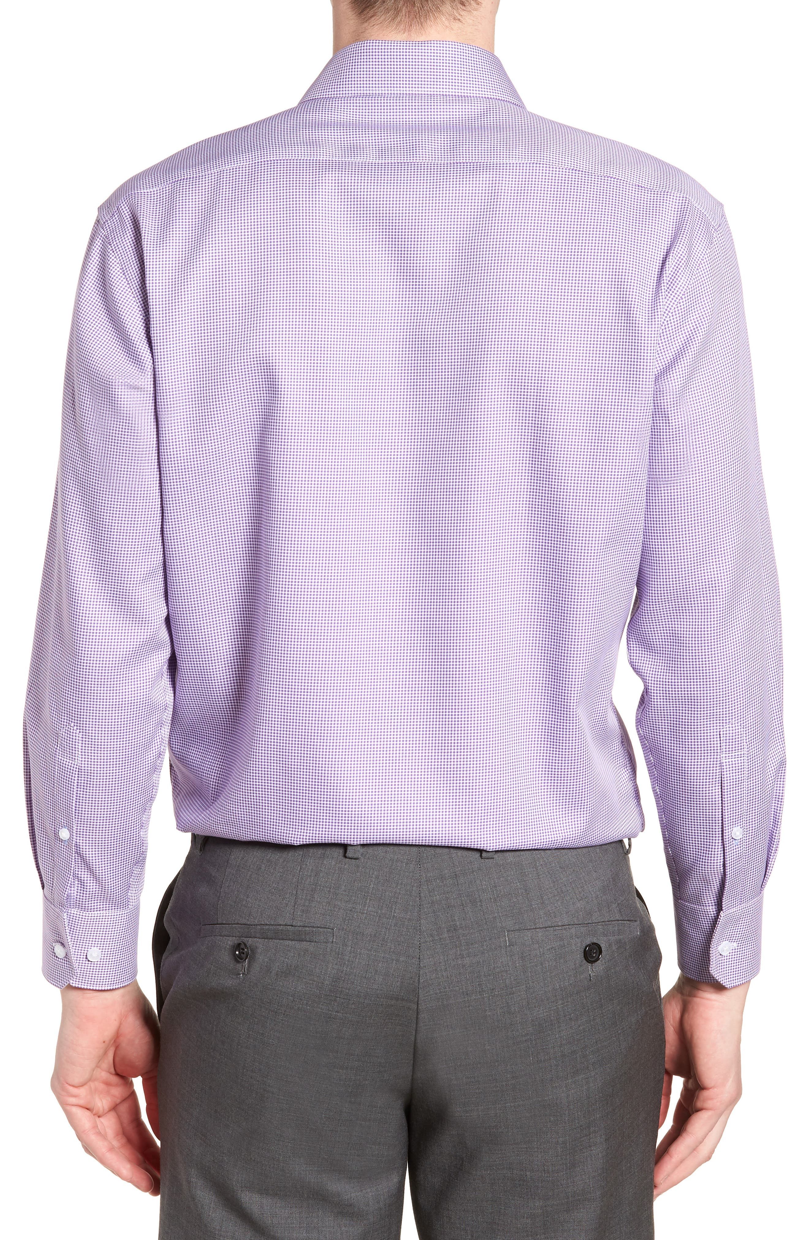 Hayden Trim Fit Check Dress Shirt,                             Alternate thumbnail 3, color,                             PURPLE