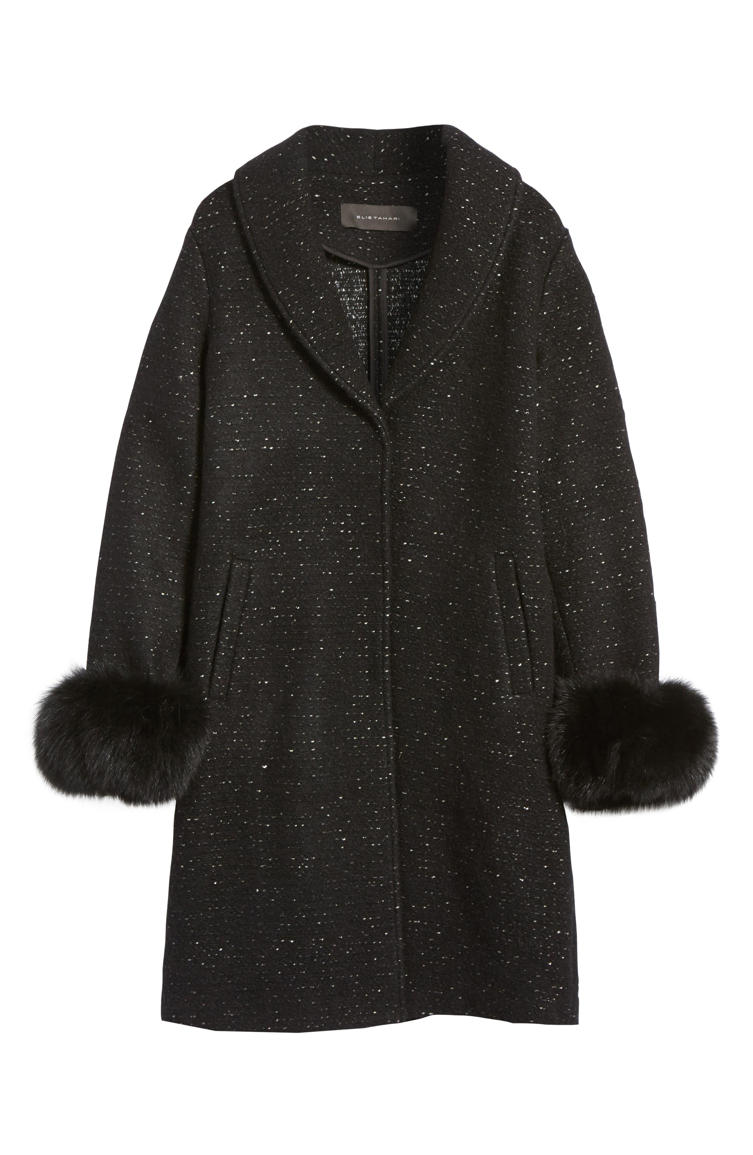 Grace Genuine Fox Fur Trim Knit Wool Blend Long Coat,                             Alternate thumbnail 5, color,                             001