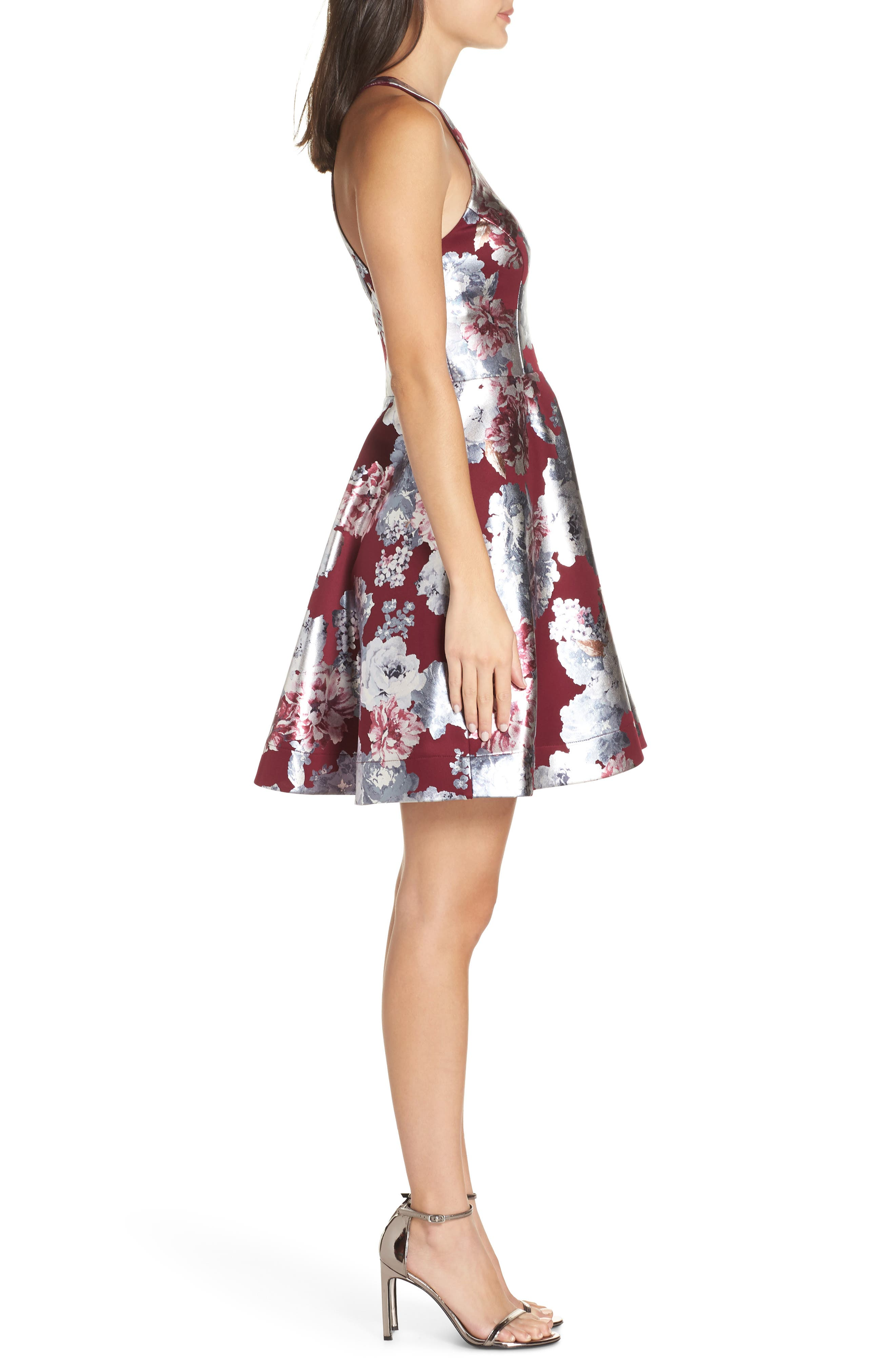Foiled Floral Fit & Flare Dress,                             Alternate thumbnail 3, color,                             MALBEC/ SILVER
