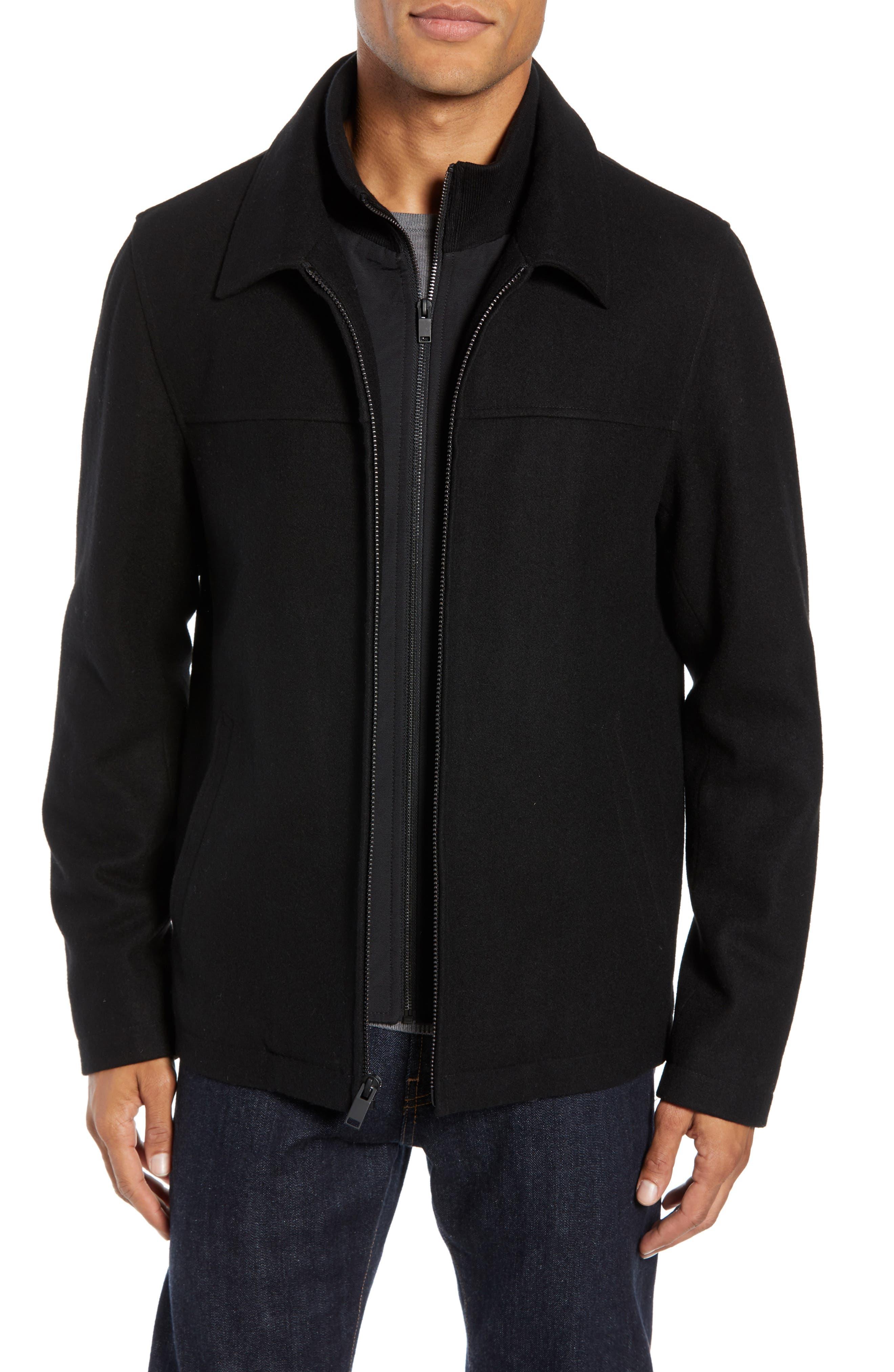 Layered Wool Blend Coat,                             Main thumbnail 1, color,                             BLACK