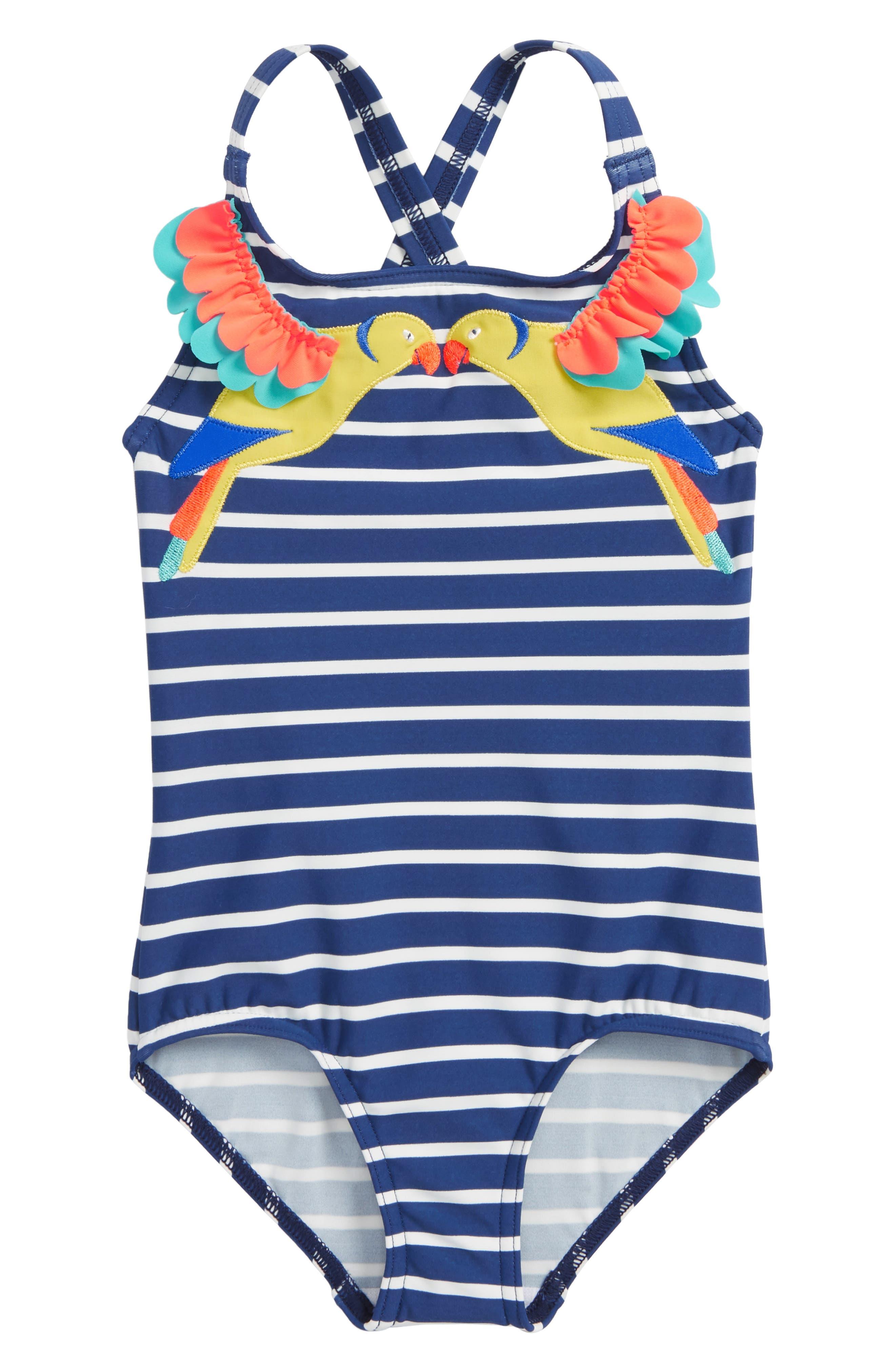 Tropical Birds One-Piece Swimsuit,                             Main thumbnail 1, color,                             404