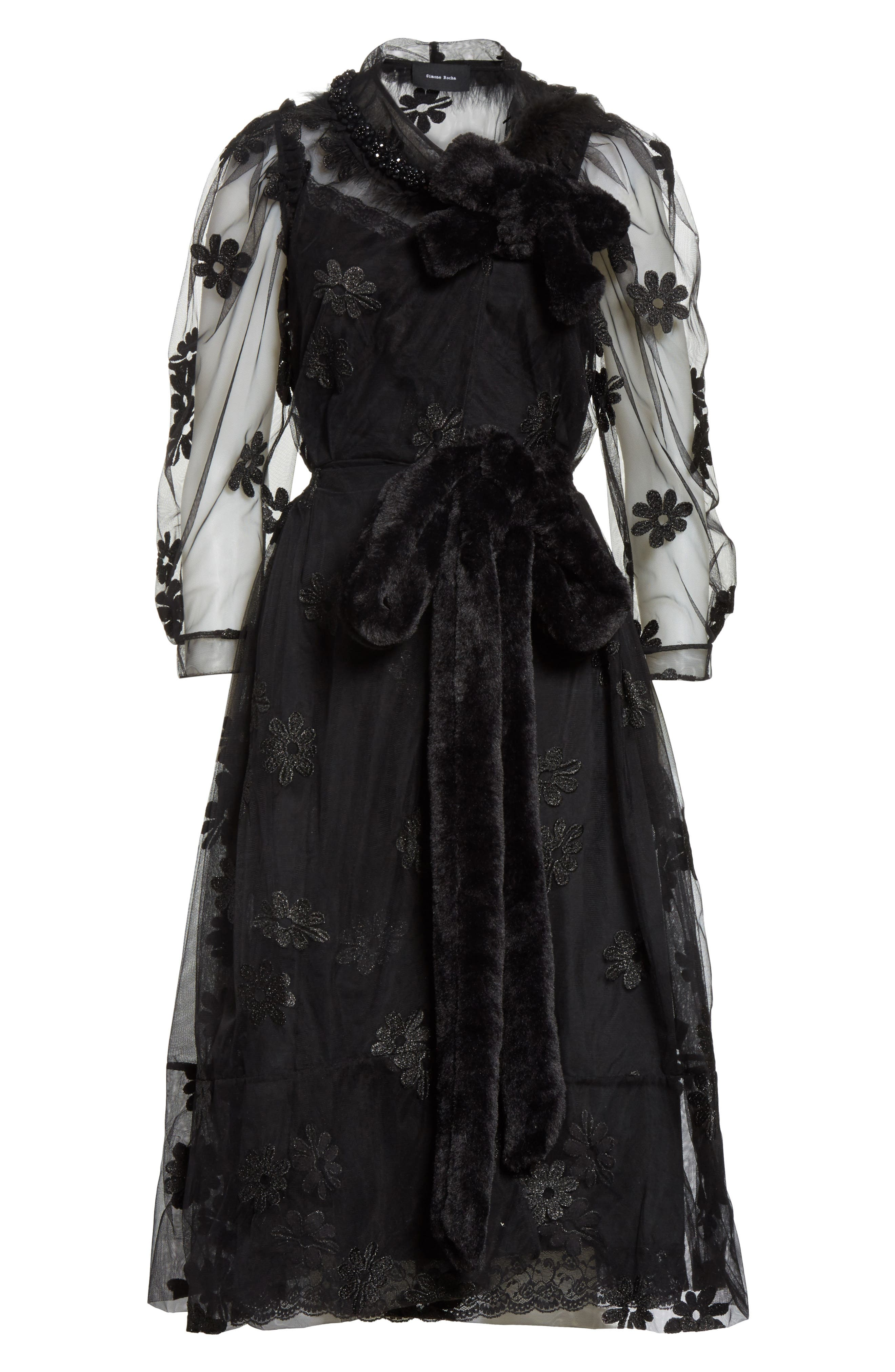 Teddy Floral Embroidered Tulle Dress with Feather and Faux Fur Trim,                             Alternate thumbnail 6, color,                             001