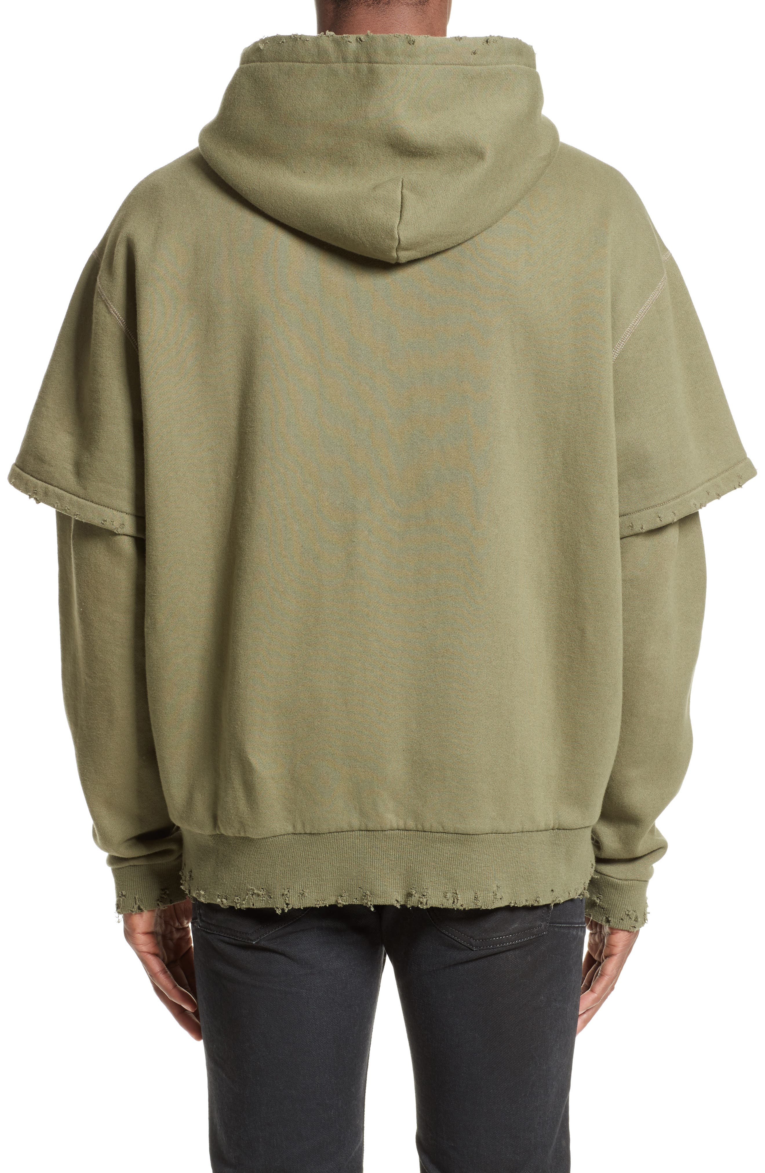 Shredded Double Sleeve Hoodie,                             Alternate thumbnail 2, color,                             301