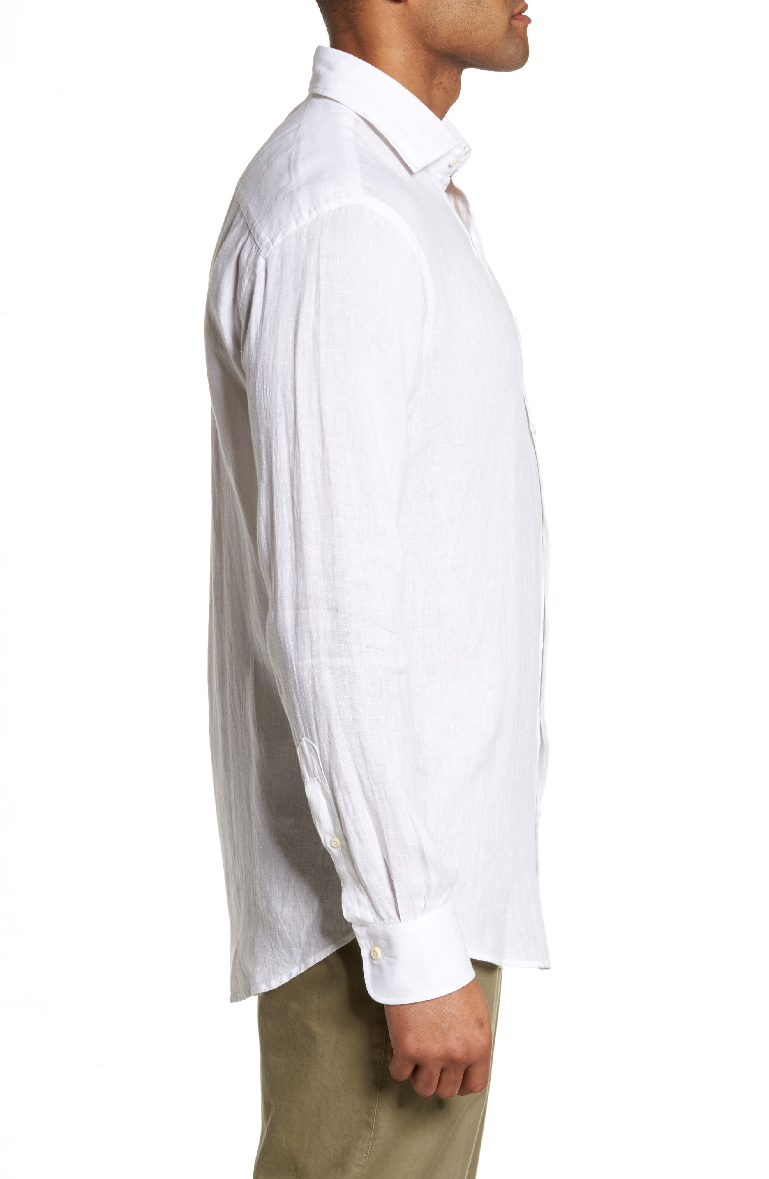 Classic Fit Crown Cool Linen Sport Shirt,                             Alternate thumbnail 3, color,                             100