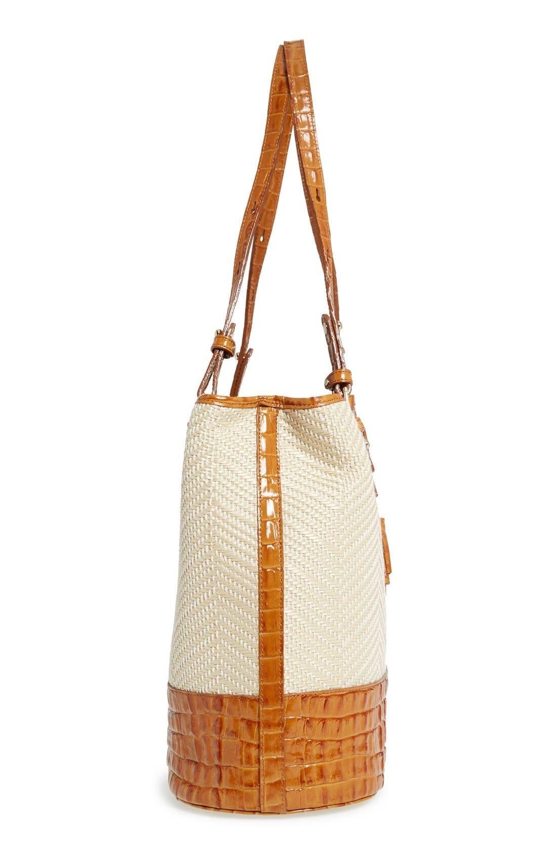 'Hudson' Leather & Raffia Bucket Bag,                             Alternate thumbnail 3, color,                             250