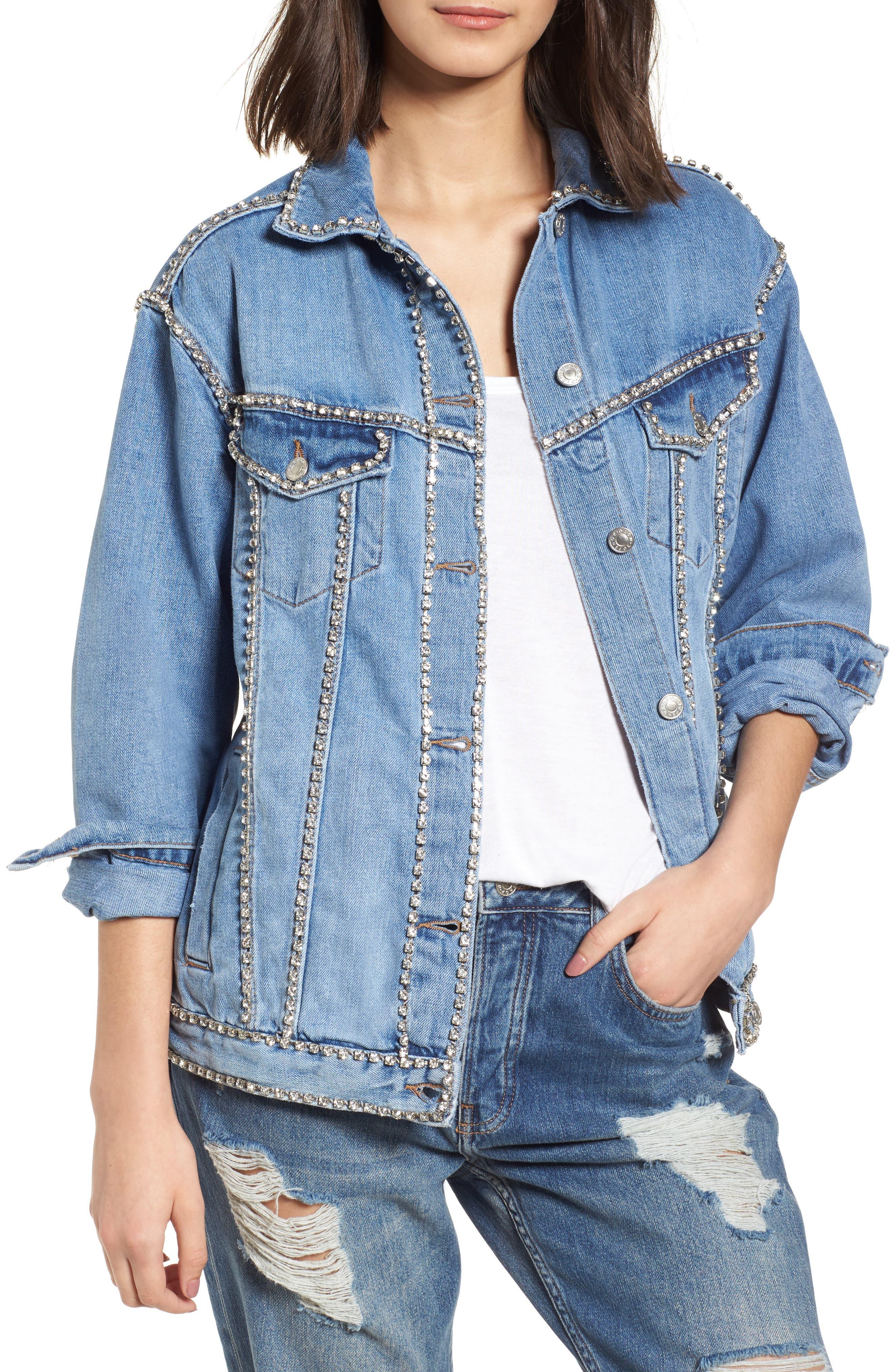 Oversize Crystal Seam Denim Jacket,                         Main,                         color, 400