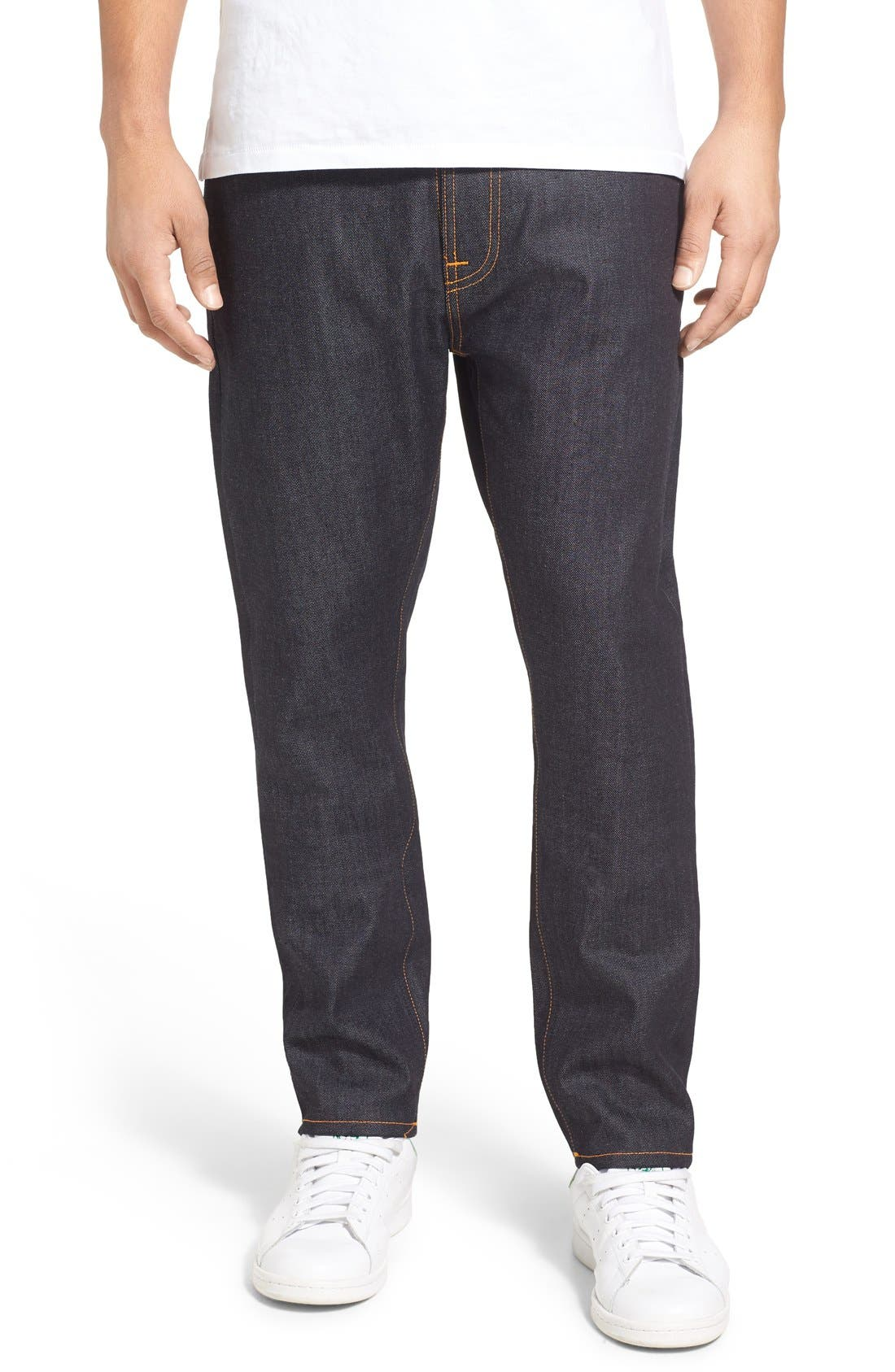 'Brute Knut' Slouchy Slim Fit Selvedge Jeans,                             Main thumbnail 1, color,                             411