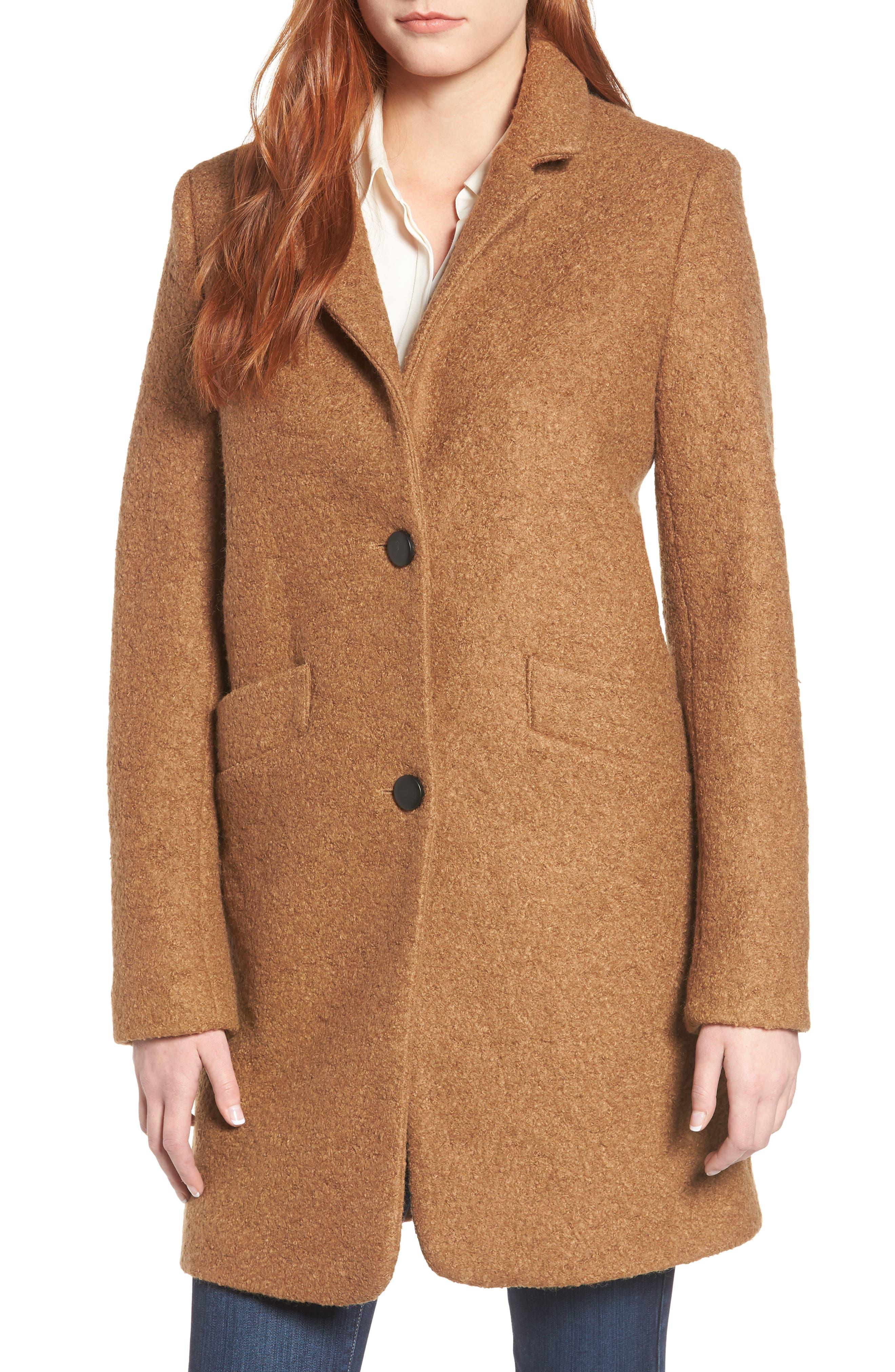 Pressed Bouclé Coat,                         Main,                         color, CAMEL