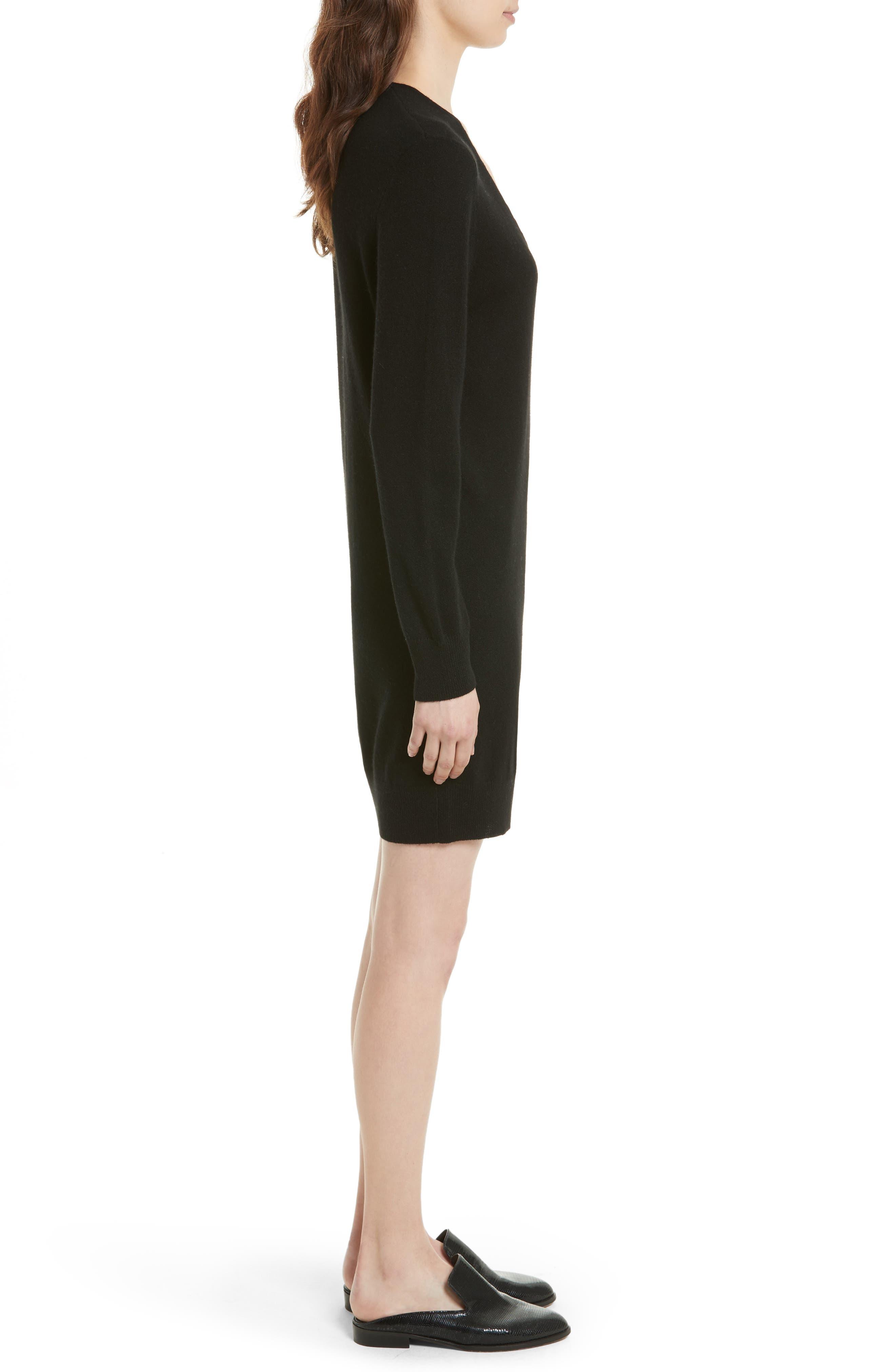 Rosemary V-Neck Cashmere Sweater Dress,                             Alternate thumbnail 3, color,                             001