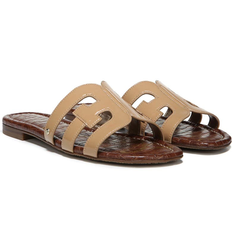 06eed63285a2e Sam Edelman Women S Bay Slide Sandals In Almond Patent Leather ...