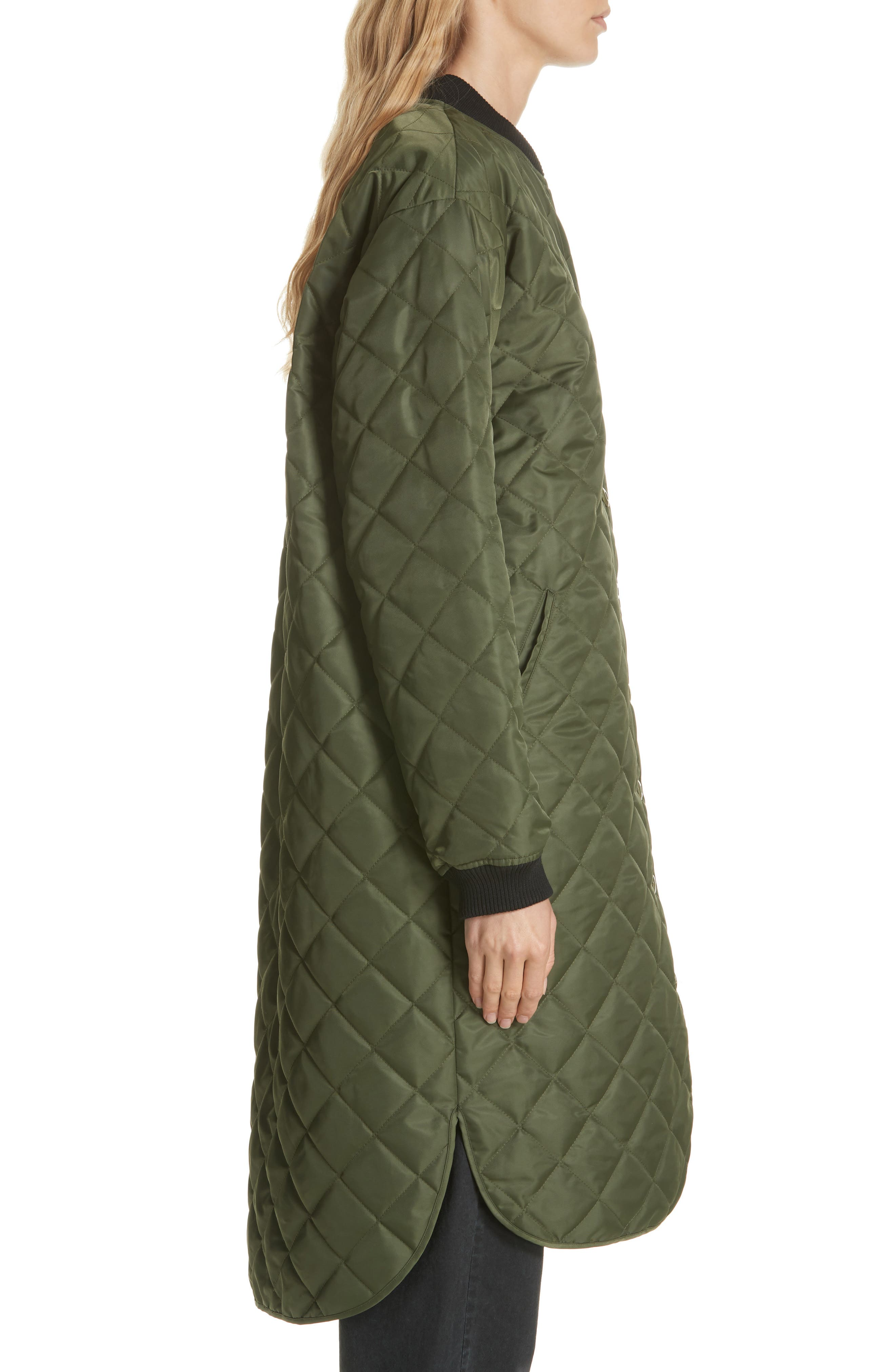 Quilted Long Coat,                             Alternate thumbnail 3, color,                             ARMY