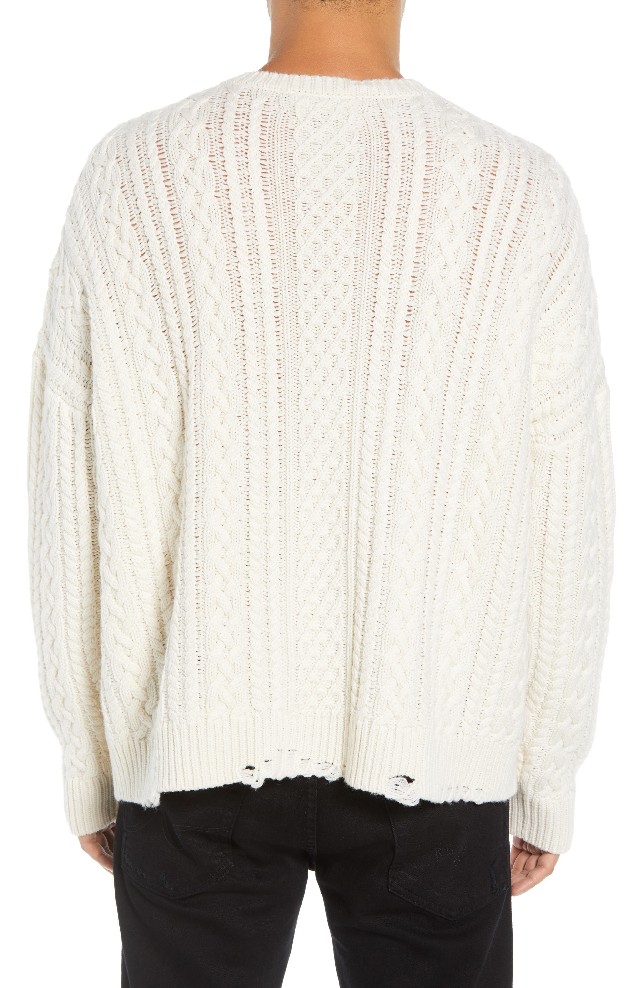 Oversize Distressed Wool Blend Sweater,                             Alternate thumbnail 2, color,                             BEIGE/ WHITE