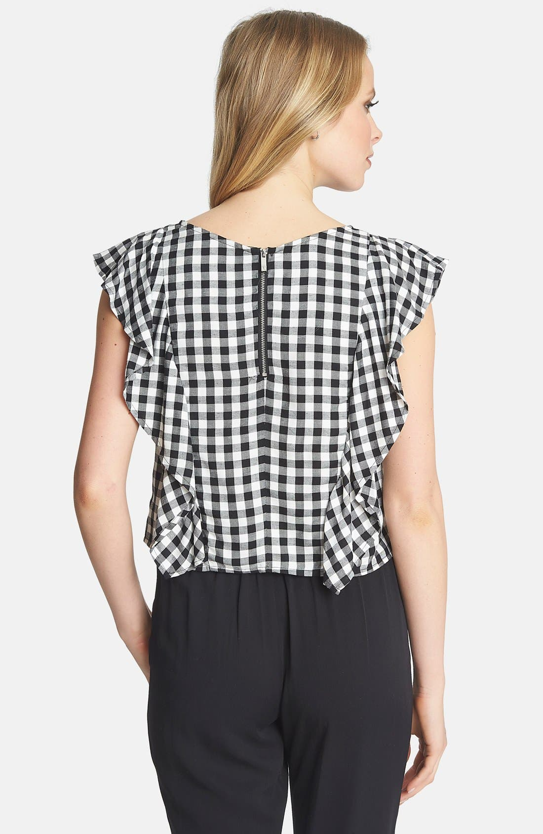 1.STATE,                             Ruffle Gingham Blouse,                             Alternate thumbnail 2, color,                             010