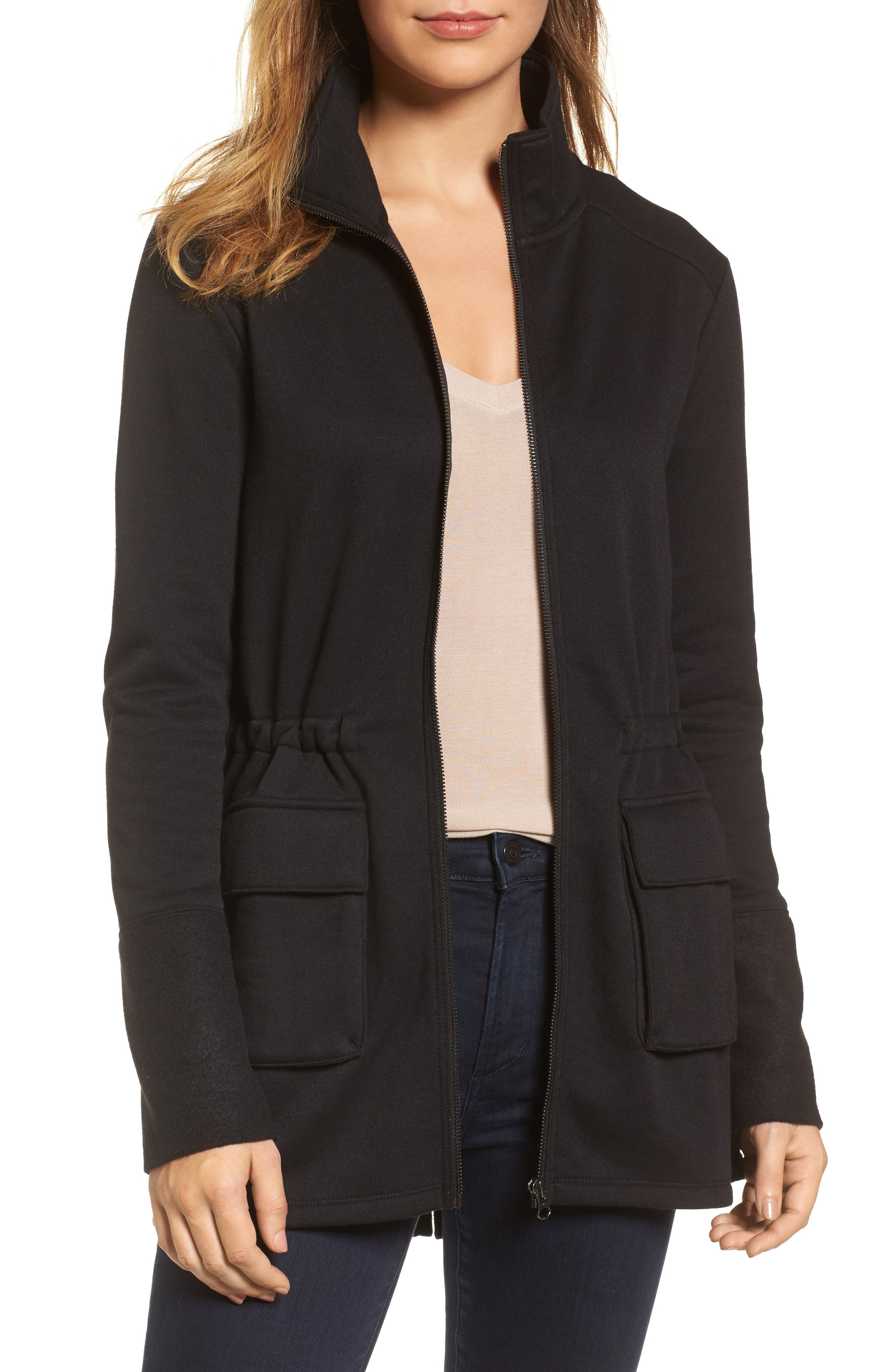 Gathered Waist Front Zip Jacket,                         Main,                         color, 001