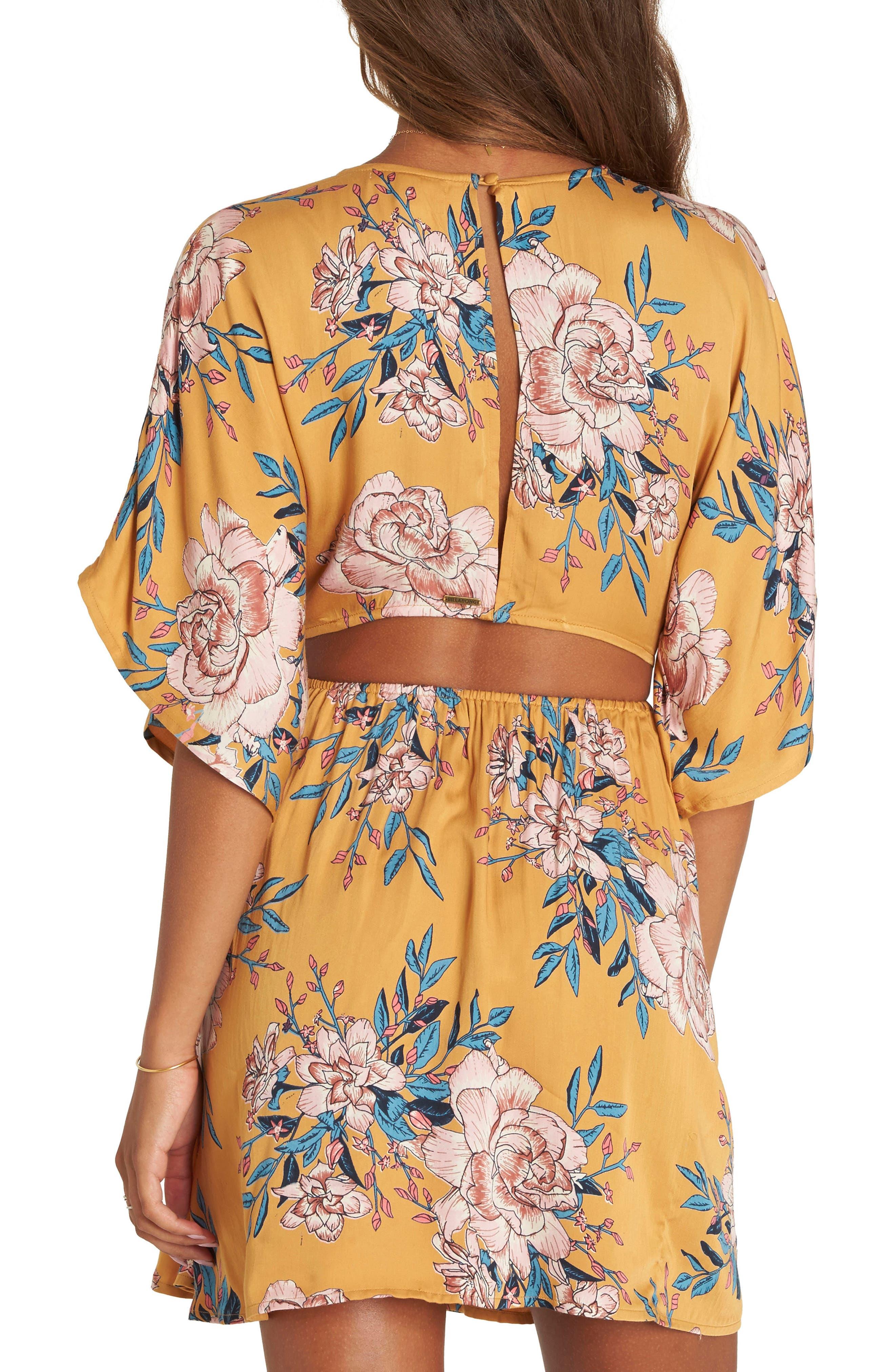 Golden Light Back Cutout Minidress,                             Alternate thumbnail 2, color,