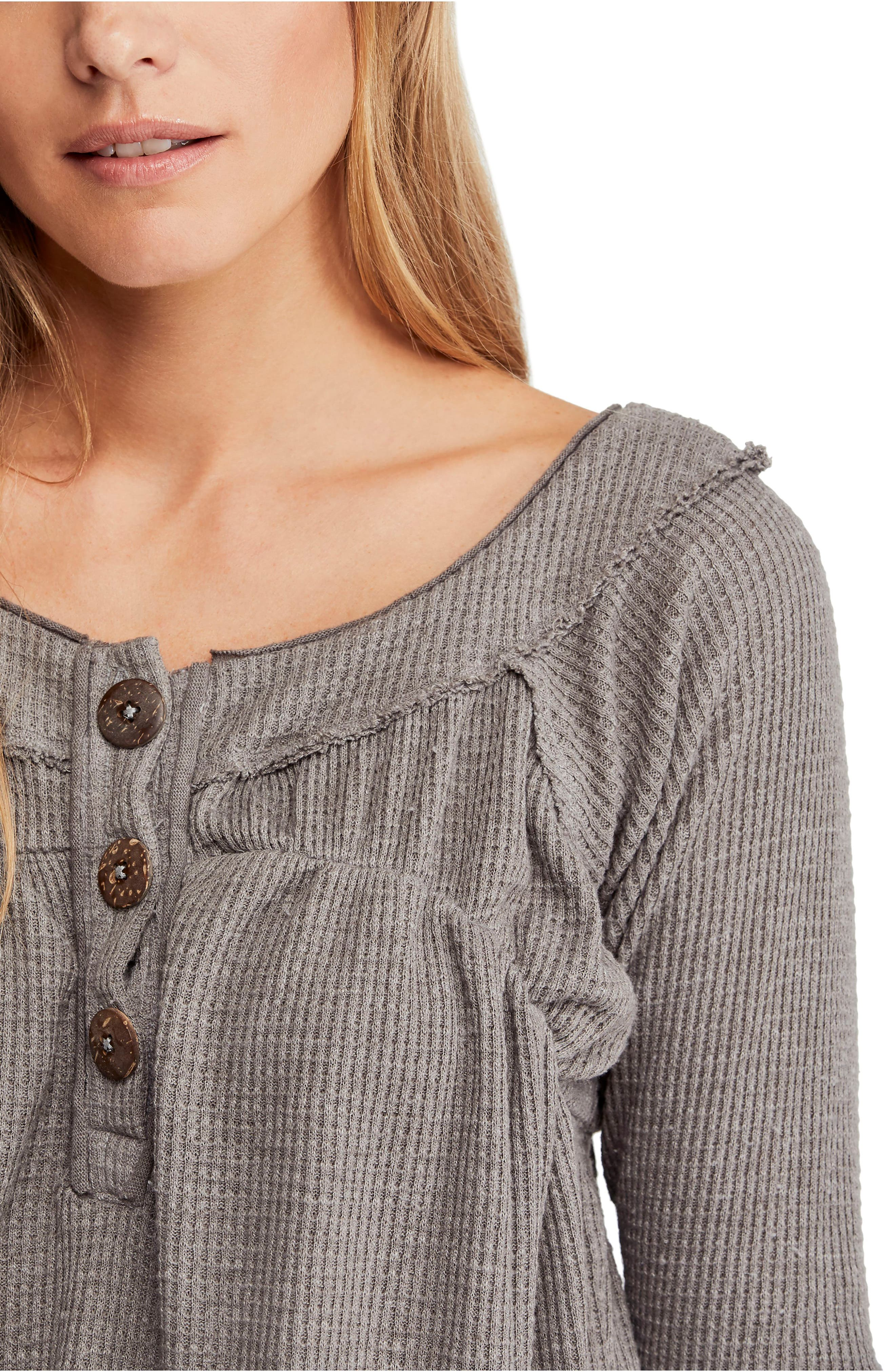 FREE PEOPLE,                             Must Have Henley,                             Alternate thumbnail 4, color,                             GREY