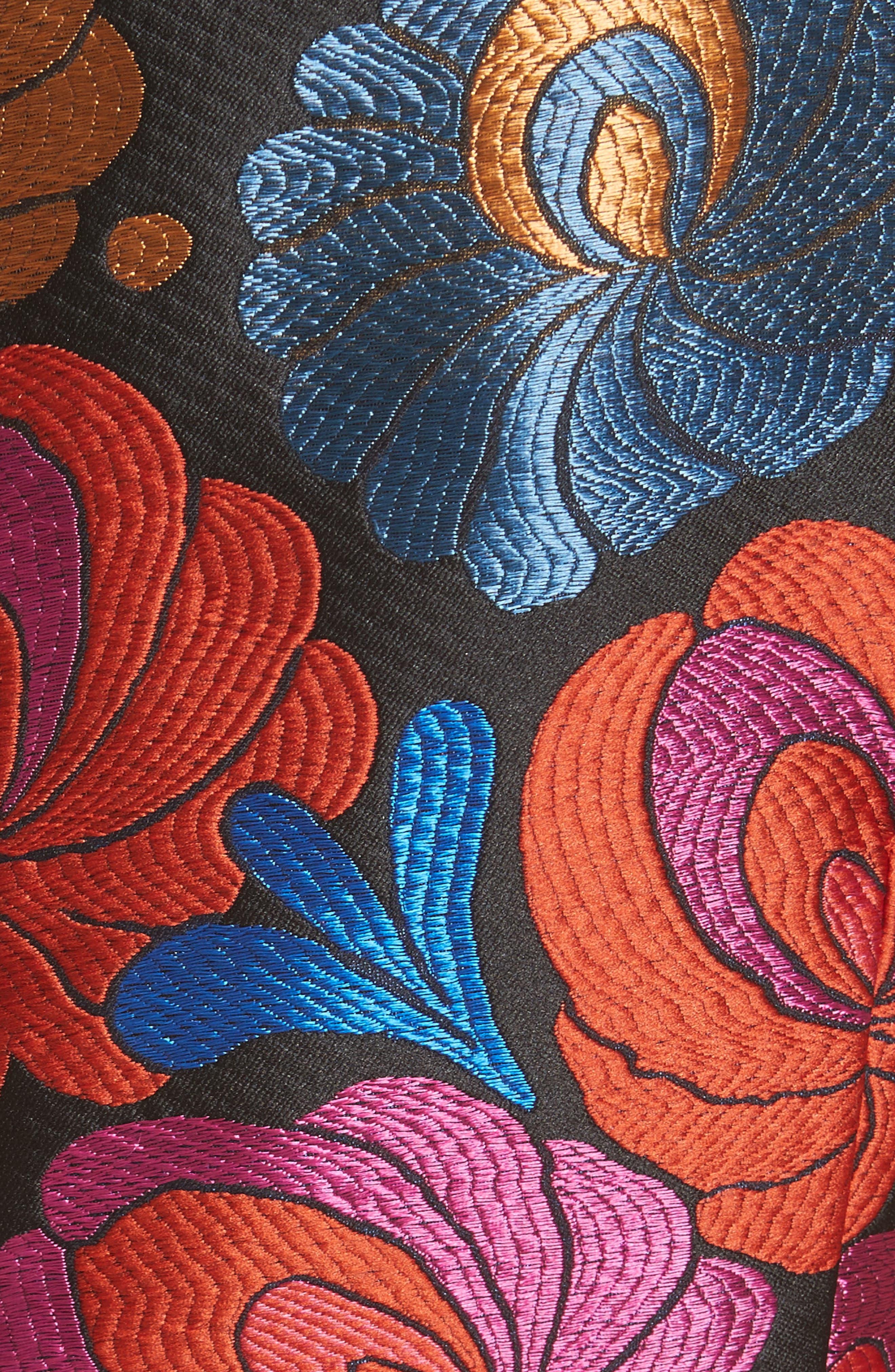 Sleeveless Brocade Dress,                             Alternate thumbnail 5, color,                             001
