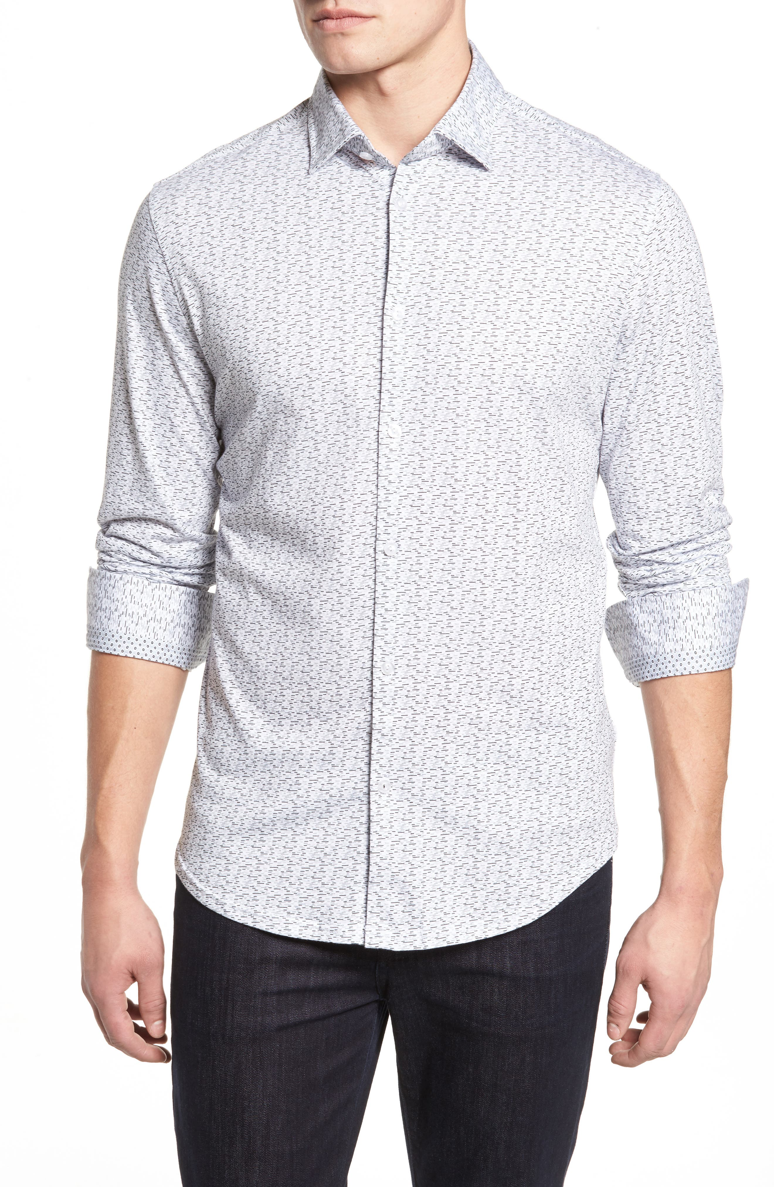 Slim Fit Print Knit Sport Shirt,                         Main,                         color, 001