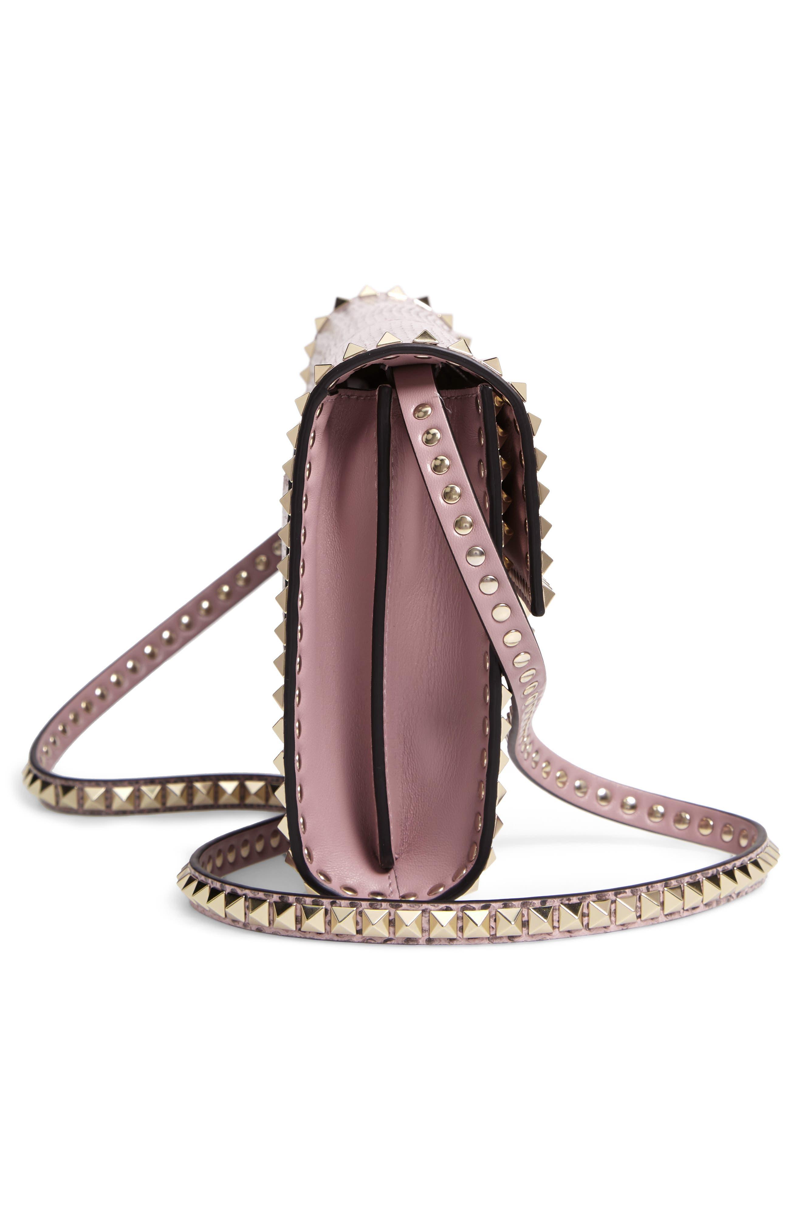 Ayers Rockstud Genuine Snakeskin & Leather Shoulder Bag,                             Alternate thumbnail 5, color,                             LIP