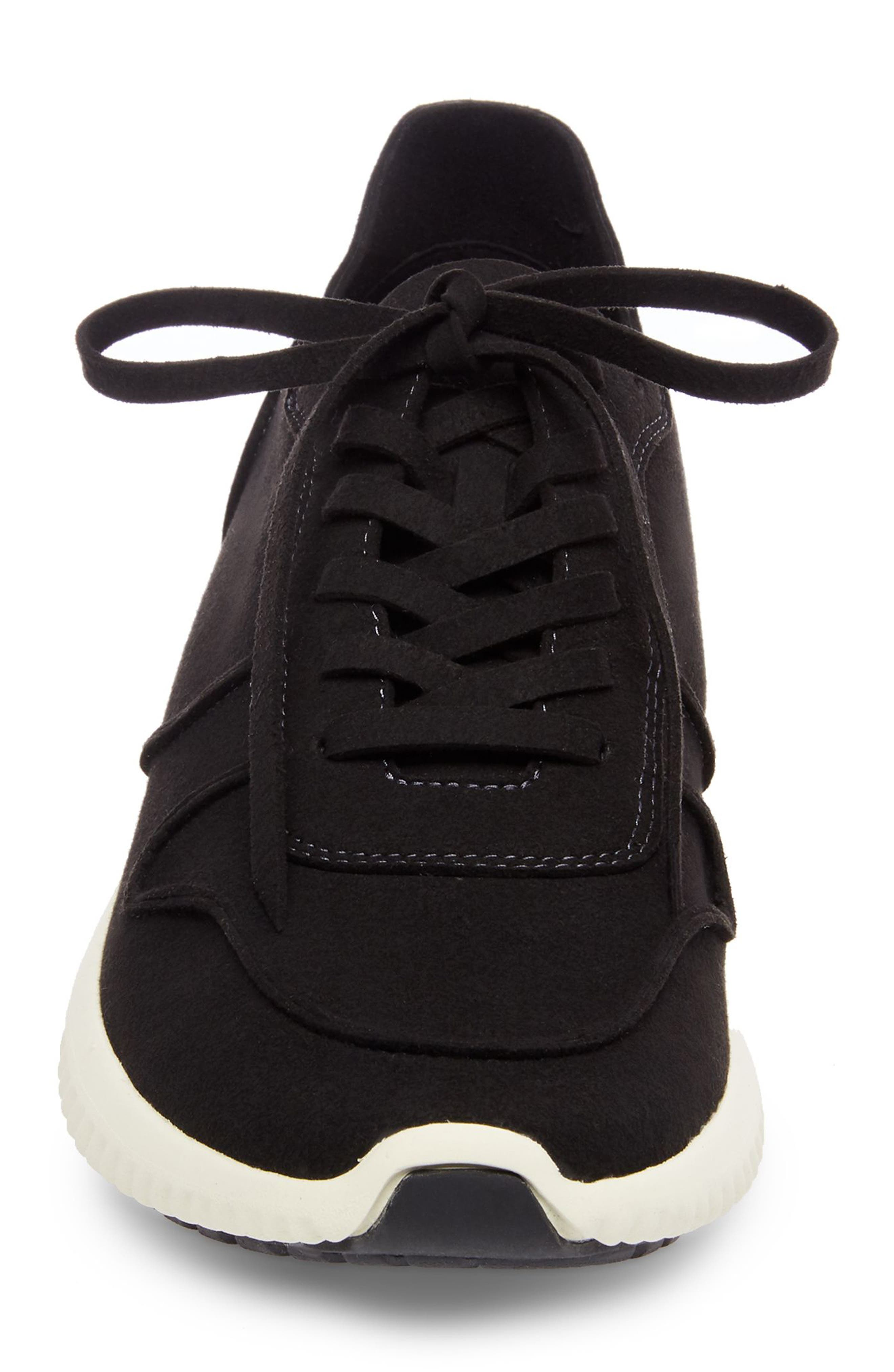 Rolf Low Top Sneaker,                             Alternate thumbnail 4, color,                             BLACK LEATHER