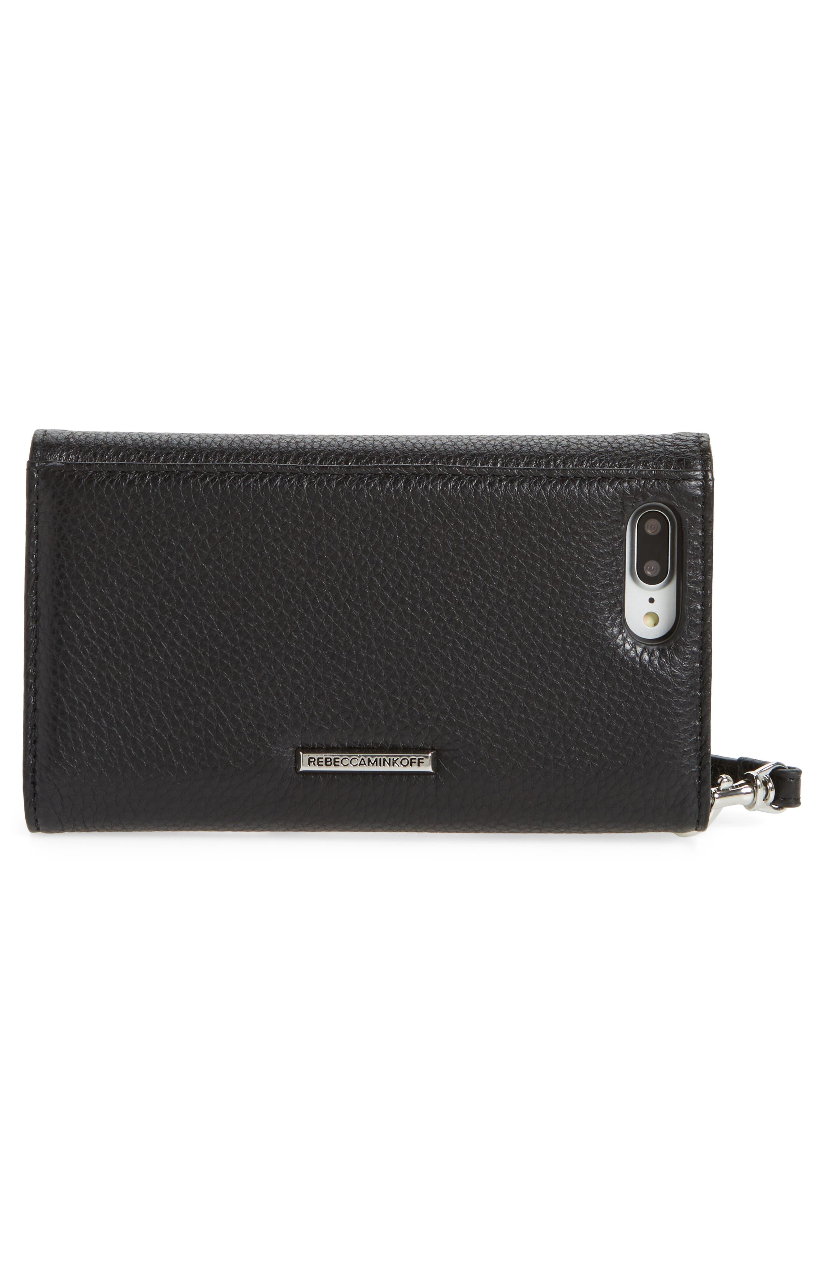 REBECCA MINKOFF,                             Love Lock iPhone 7/8 & 7/8 Plus Leather Wristlet Folio,                             Alternate thumbnail 3, color,                             001
