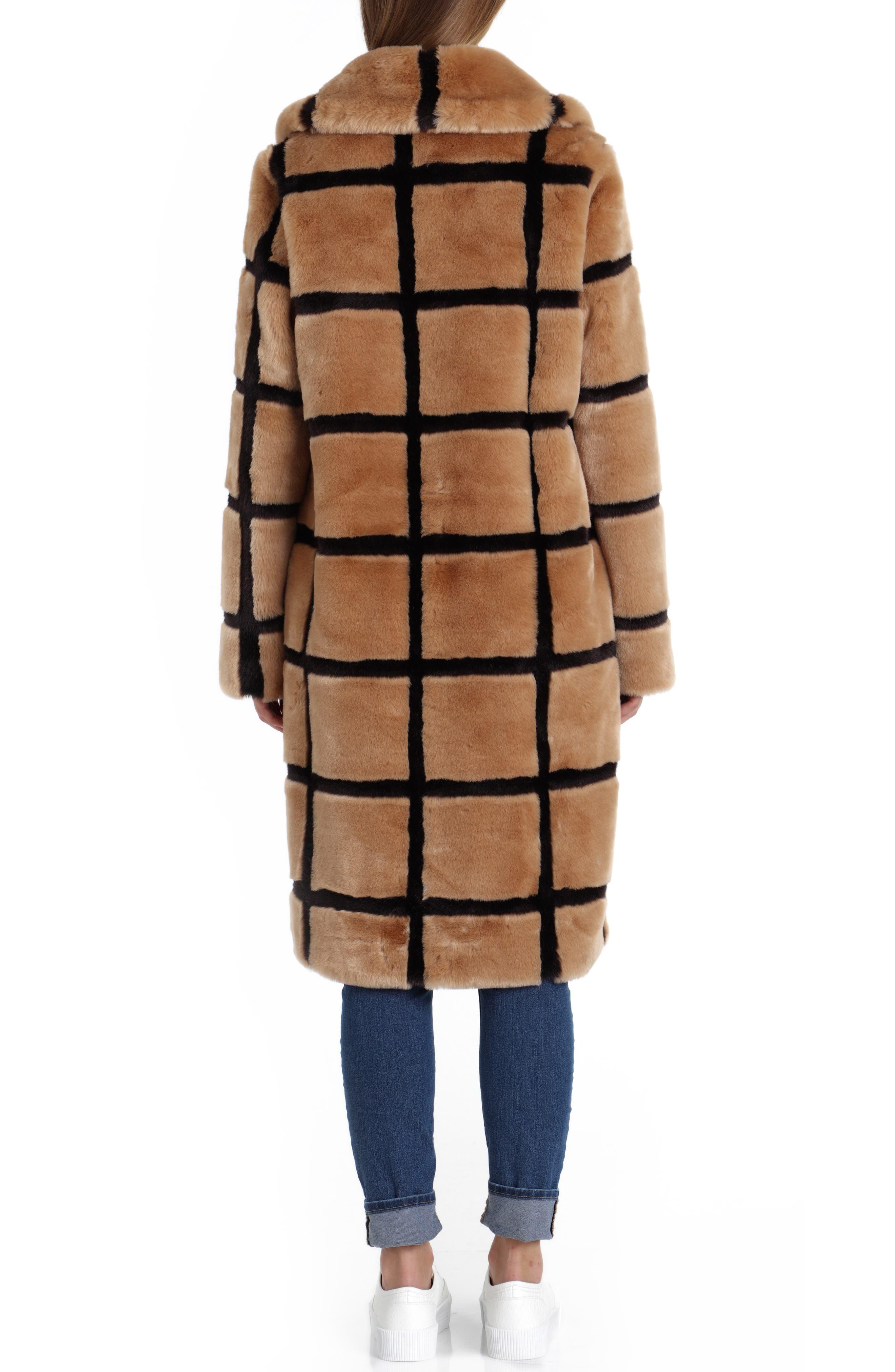 Windowpane Faux Fur Coat,                             Alternate thumbnail 2, color,                             TAN/ ESPRESSO