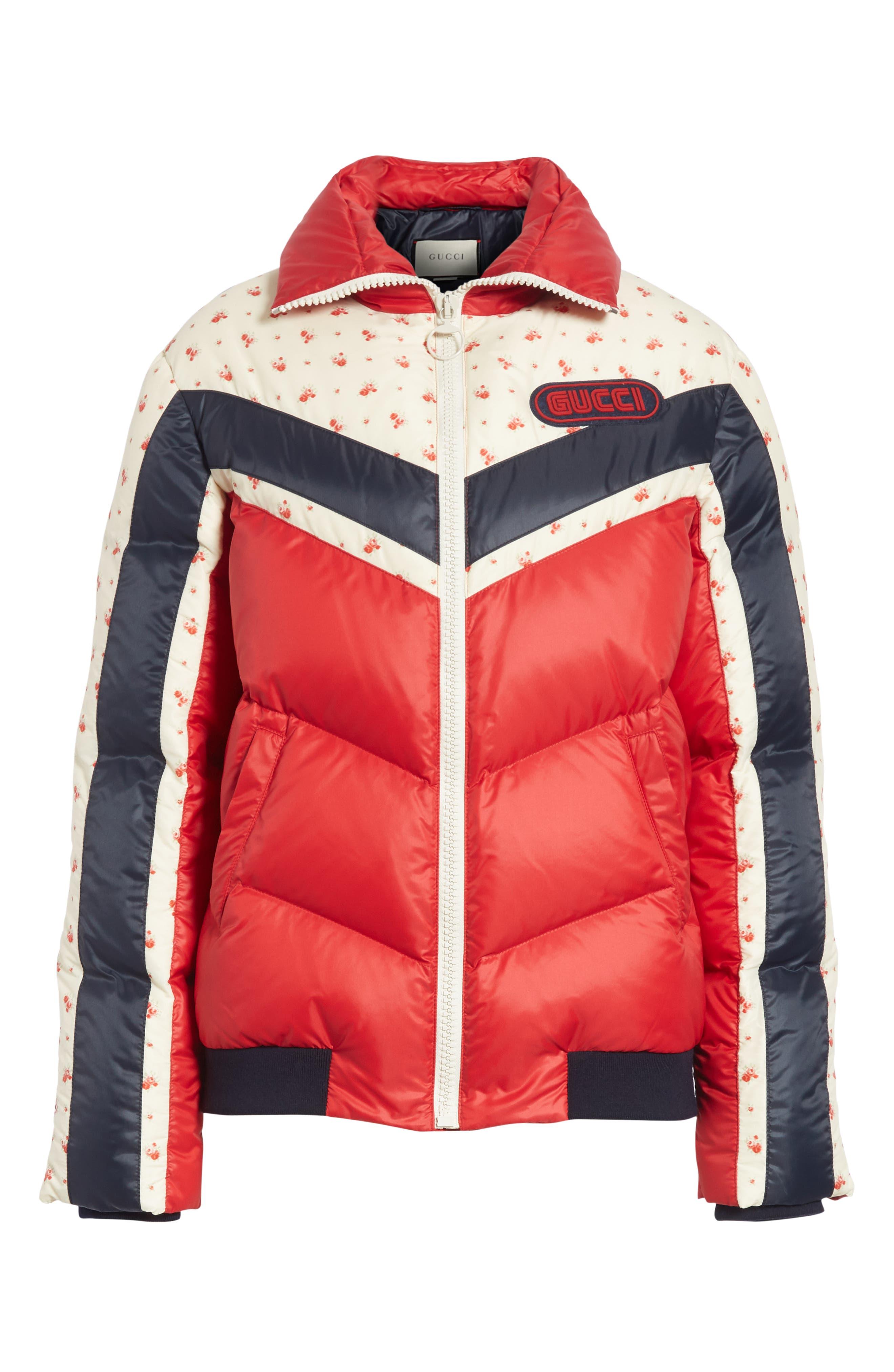 Floral & Stripe Puffer Jacket,                             Alternate thumbnail 4, color,                             MULTI