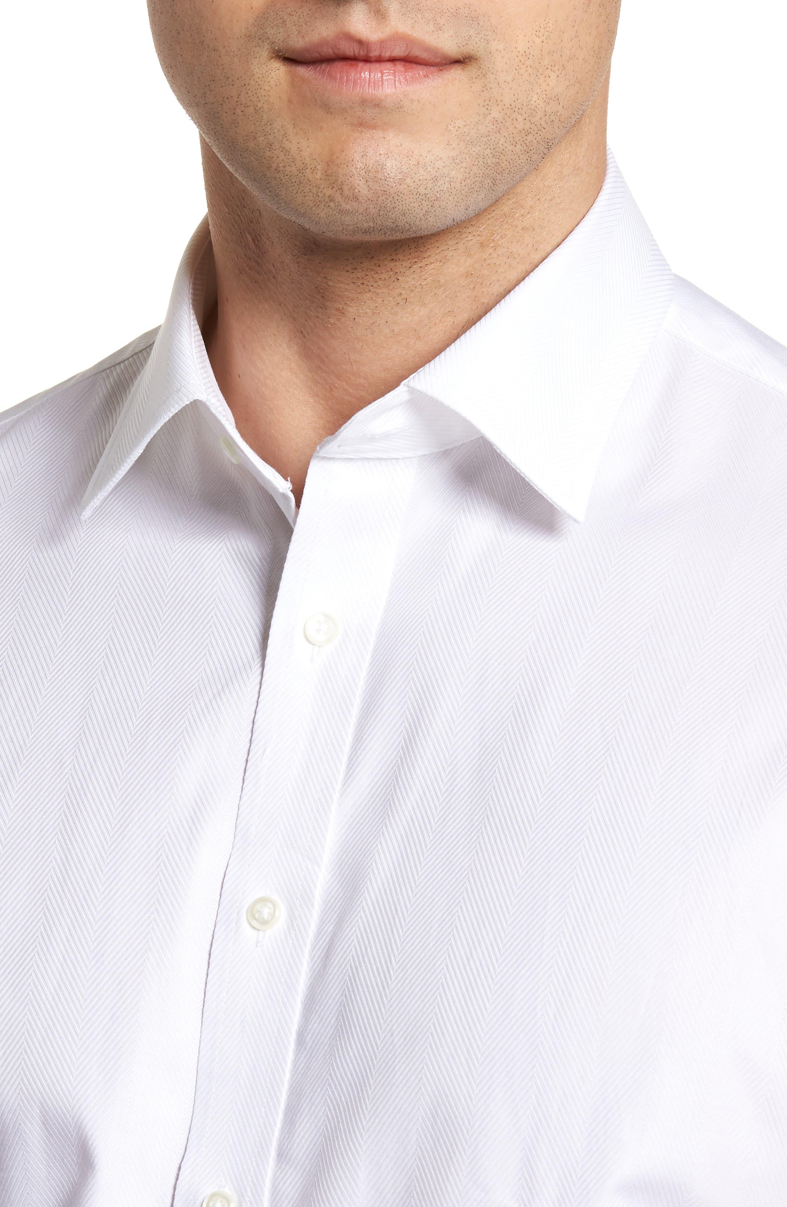 Classic Fit Herringbone Dress Shirt,                             Alternate thumbnail 2, color,                             100