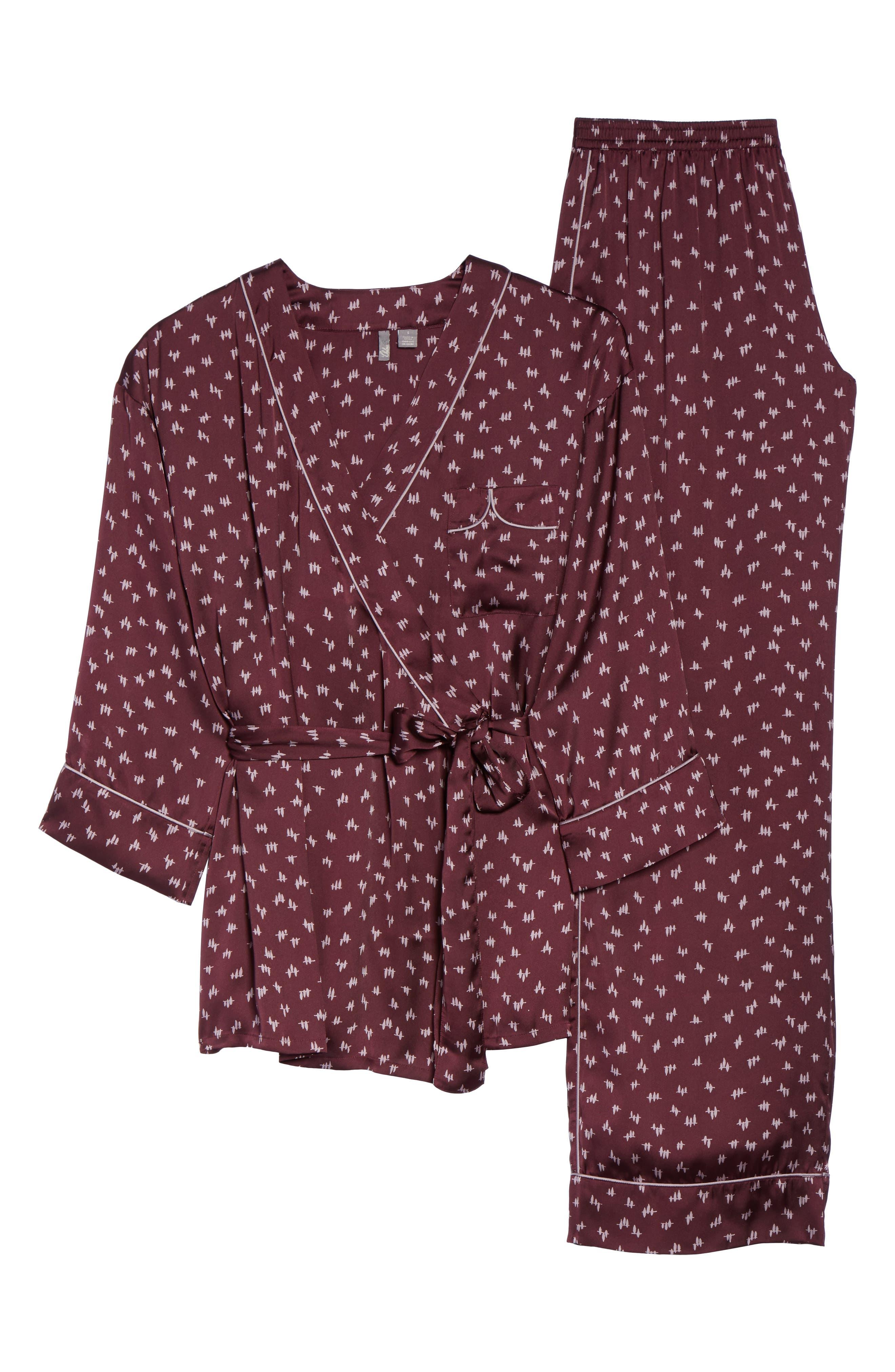 Wrap Satin Pajamas,                             Alternate thumbnail 5, color,                             930