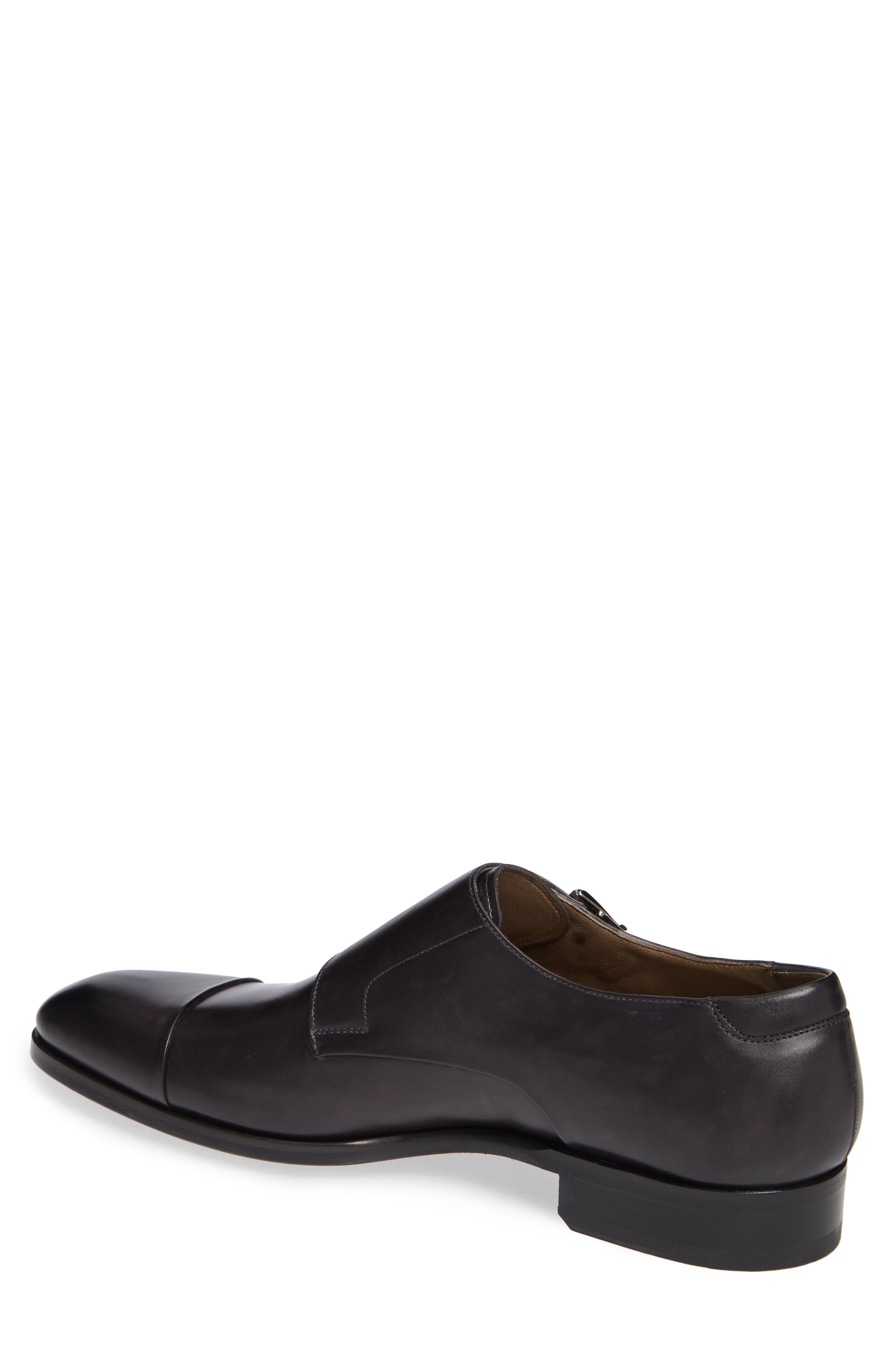 Riva Double Monk Strap Shoe,                             Alternate thumbnail 2, color,                             GREY LEATHER
