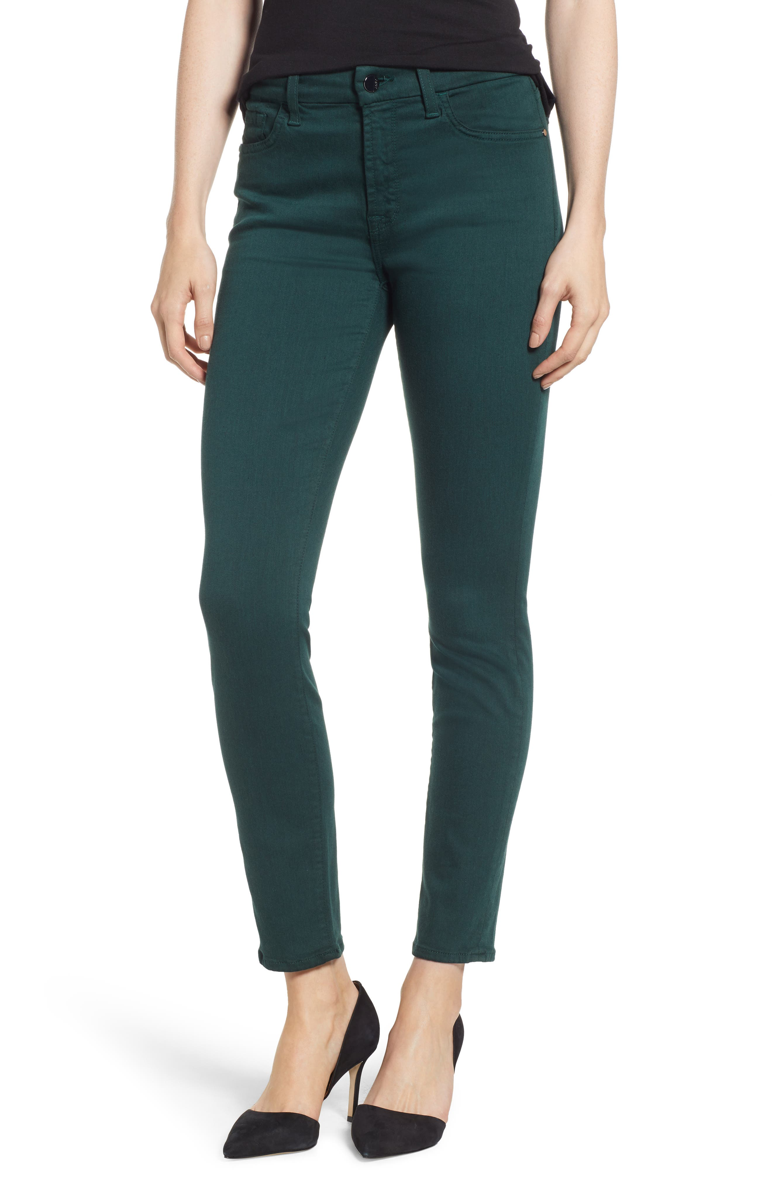 JEN7 BY 7 FOR ALL MANKIND Mid-Rise Skinny Twill Pants W/ Unraveled Hem in Envy Green