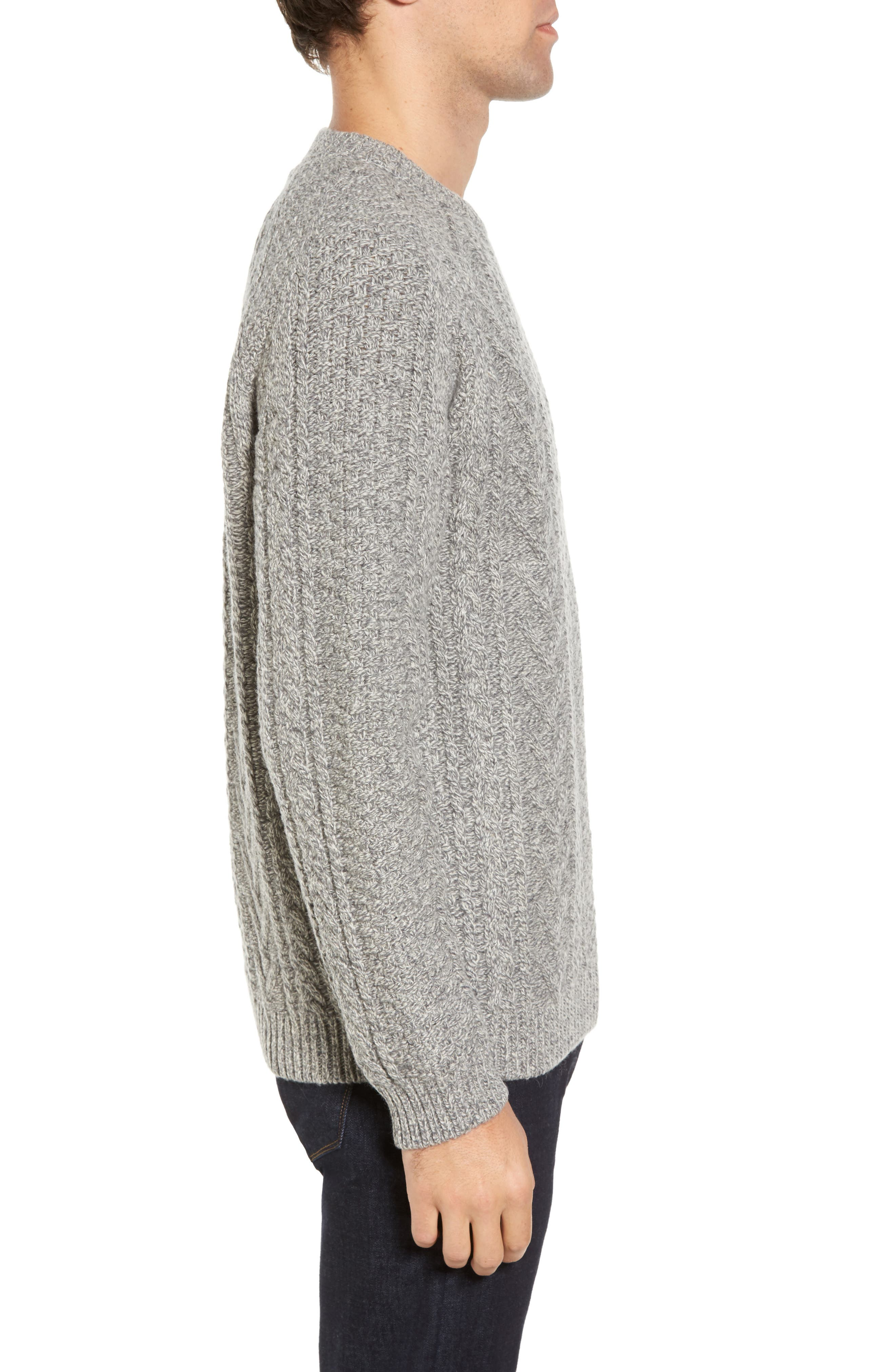 Fisherman Knit Wool Blend Sweater,                             Alternate thumbnail 5, color,