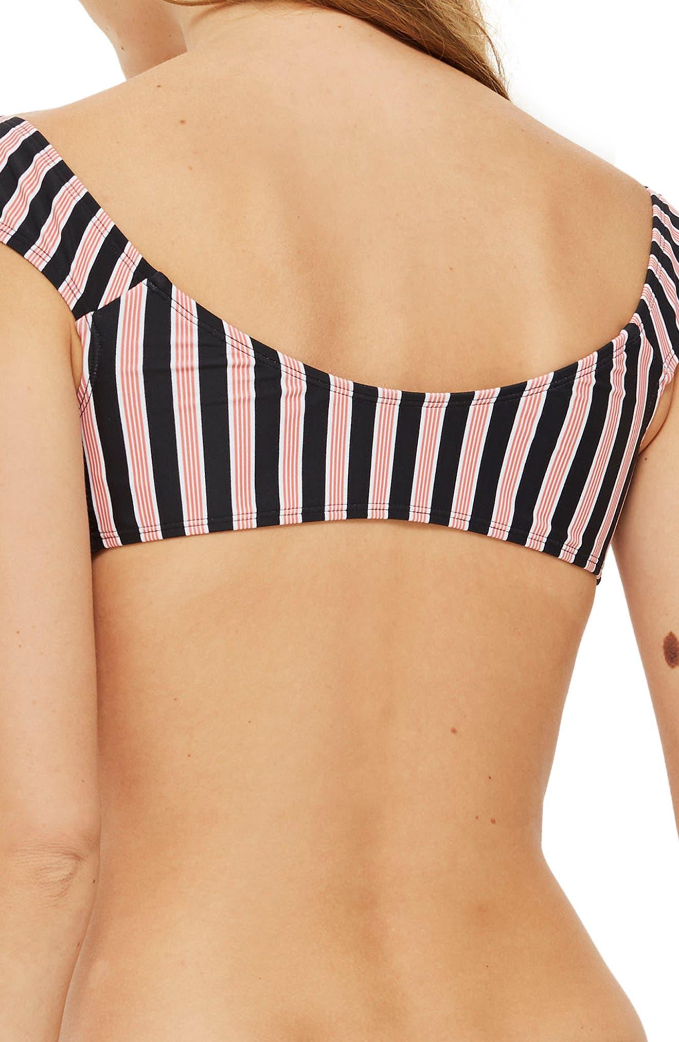 Stripe Tie Front Bikini Top,                             Alternate thumbnail 2, color,                             001