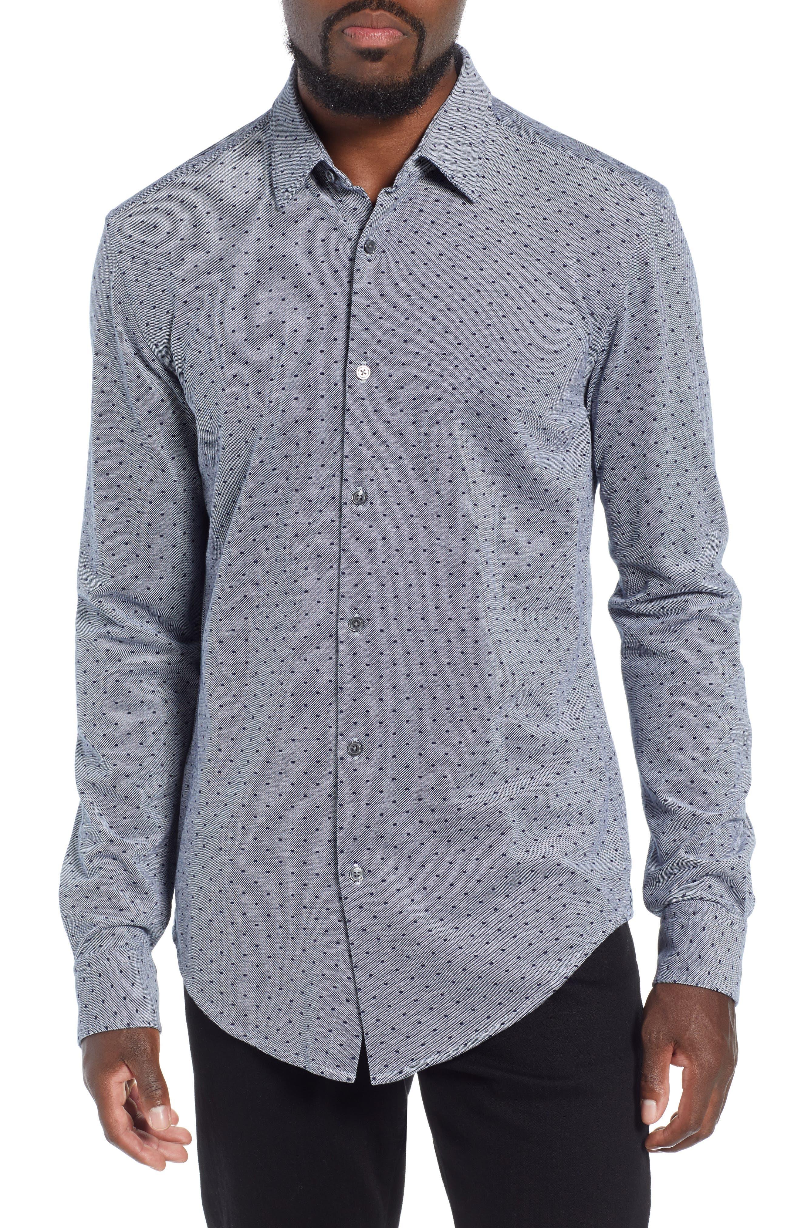 Ronni Slim Fit Dot Sport Shirt,                             Main thumbnail 1, color,                             BLUE