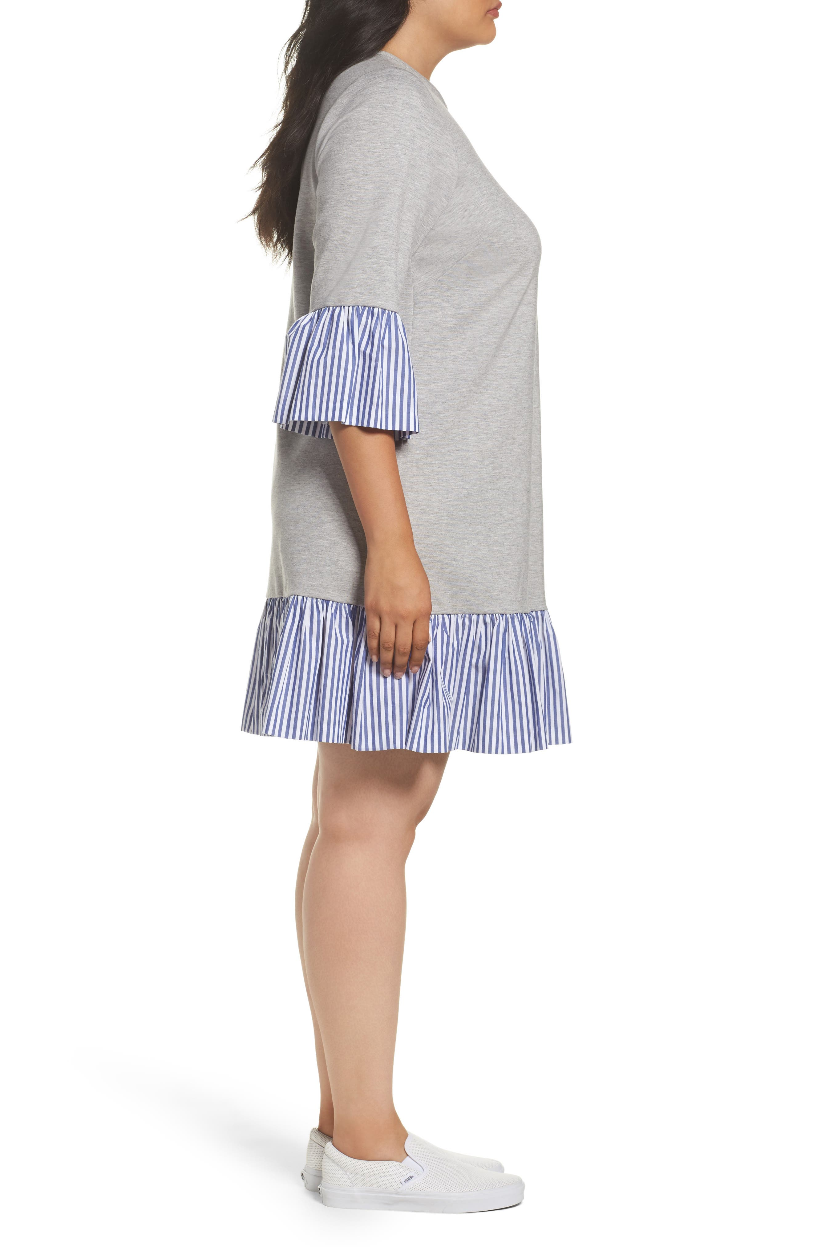Flounce Hem Sweatshirt Dress,                             Alternate thumbnail 3, color,                             030