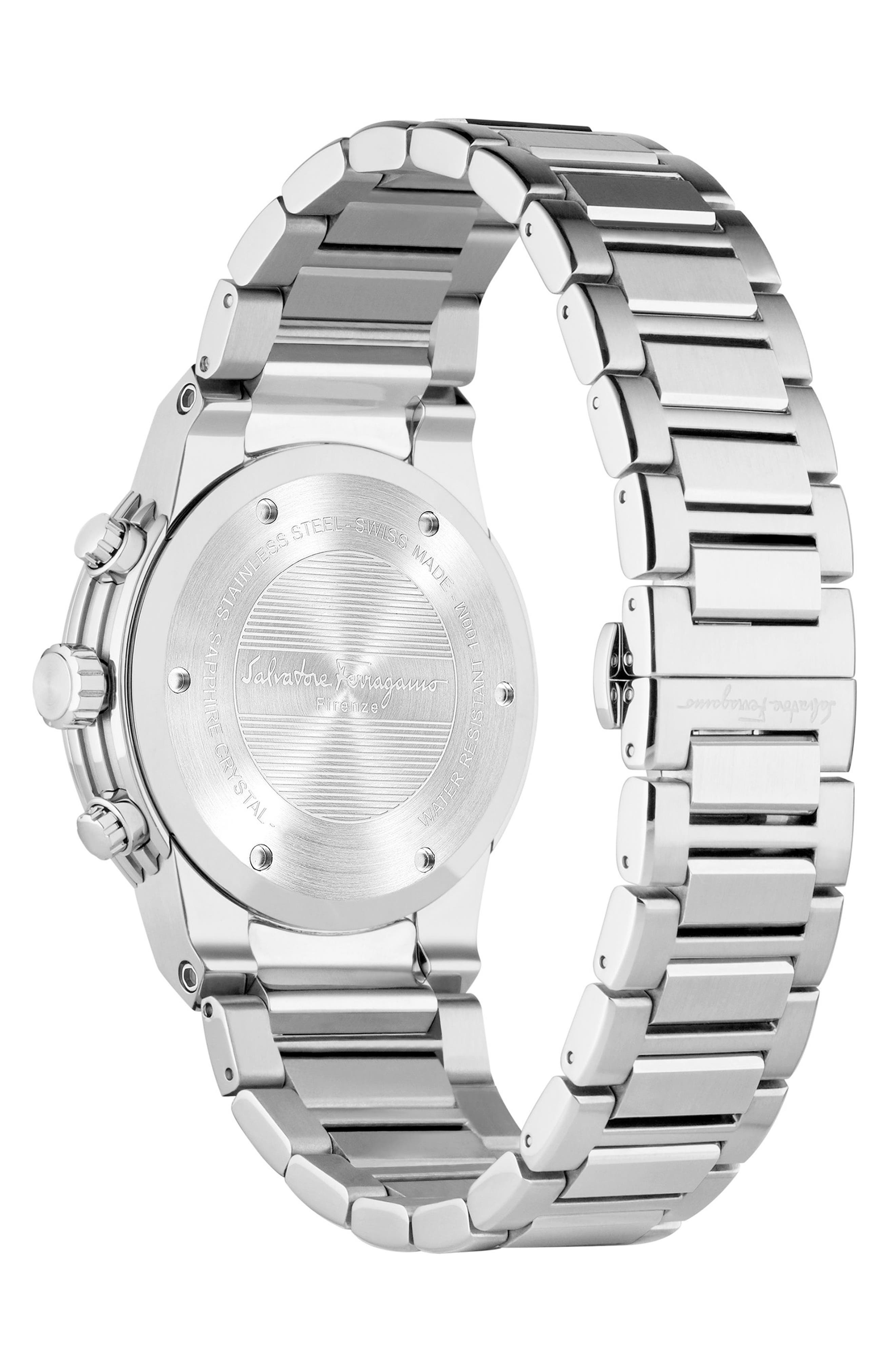 F80 Chronograph Bracelet Watch, 44mm,                             Alternate thumbnail 2, color,                             SILVER/ BLACK/ SILVER