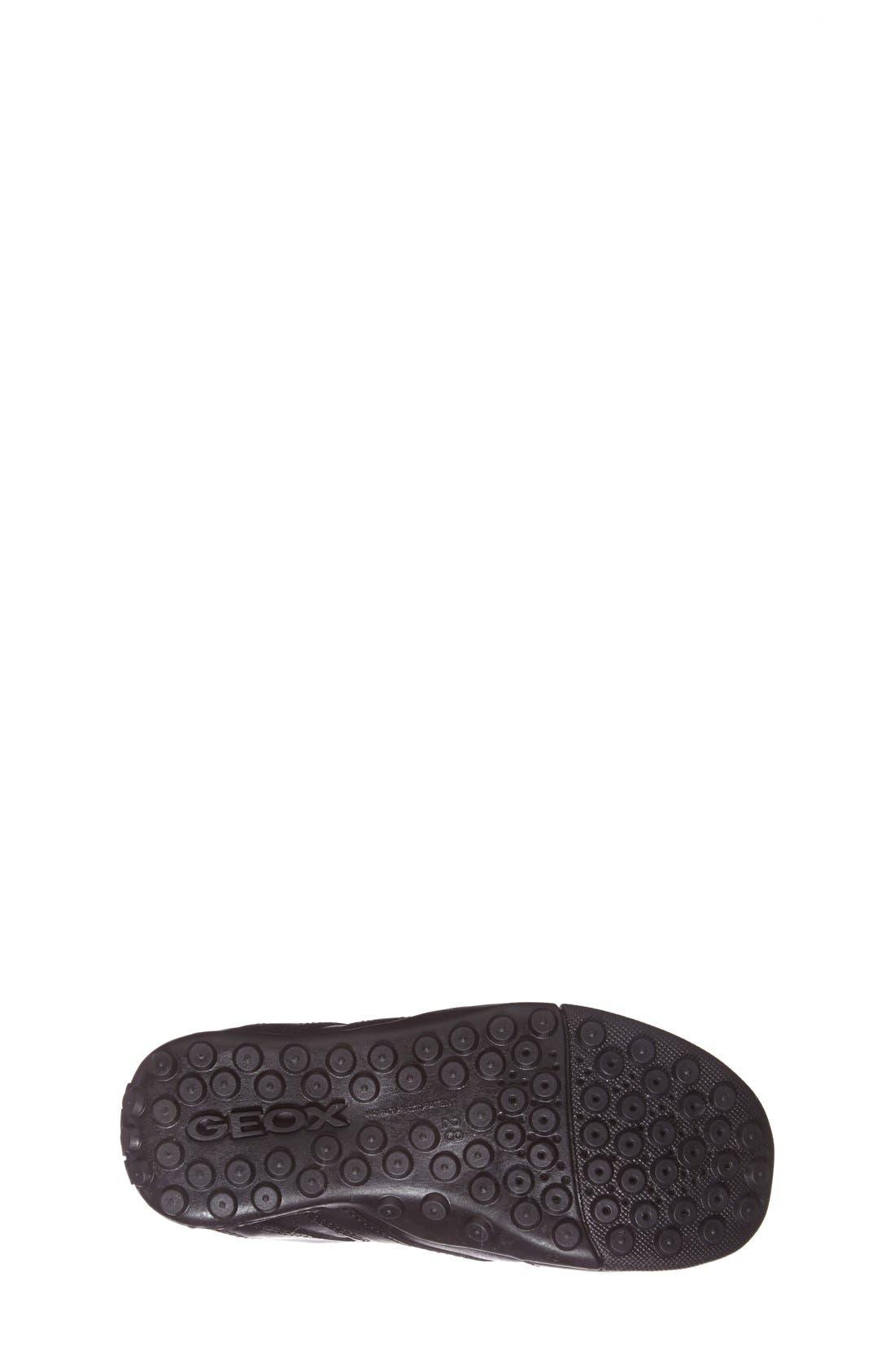 'Snake Moc 2' Leather Loafer,                             Alternate thumbnail 4, color,                             BLACK