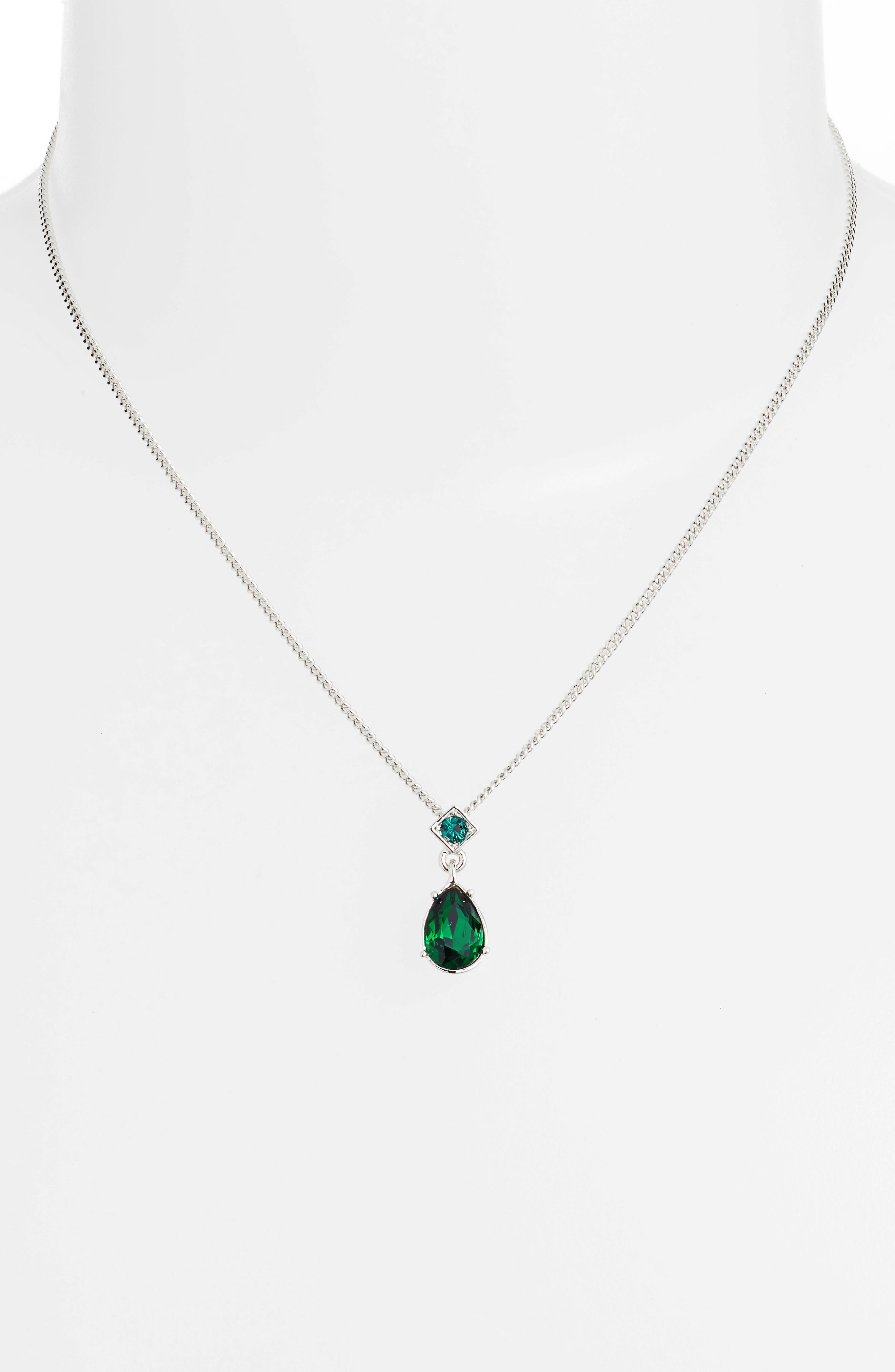 Drop Necklace & Earrings Set,                             Alternate thumbnail 2, color,                             GREEN/ SILVER