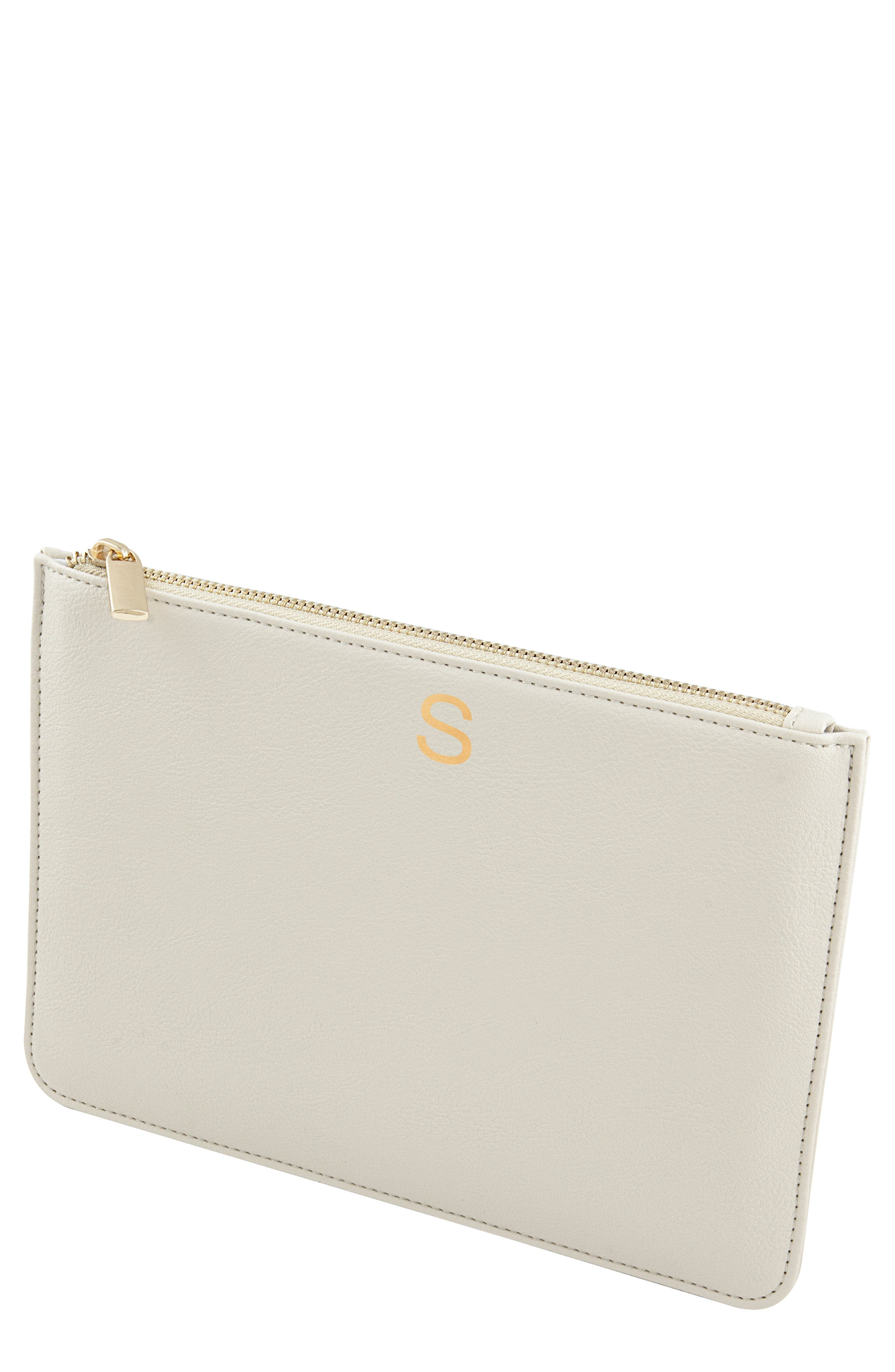 Personalized Faux Leather Pouch,                             Main thumbnail 1, color,                             PEBBLED GREY S