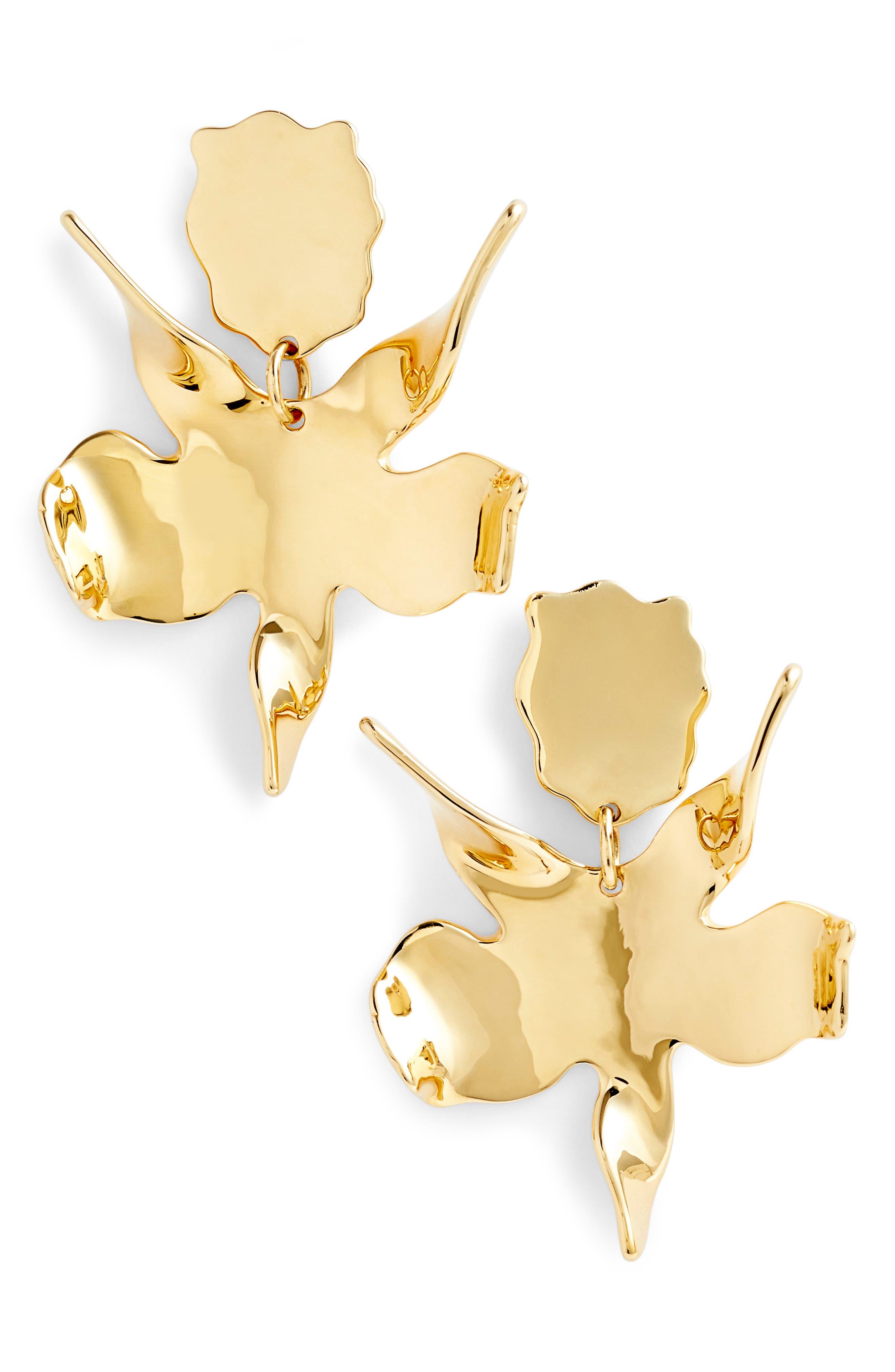 Golden Lily Drop Earrings,                             Main thumbnail 1, color,