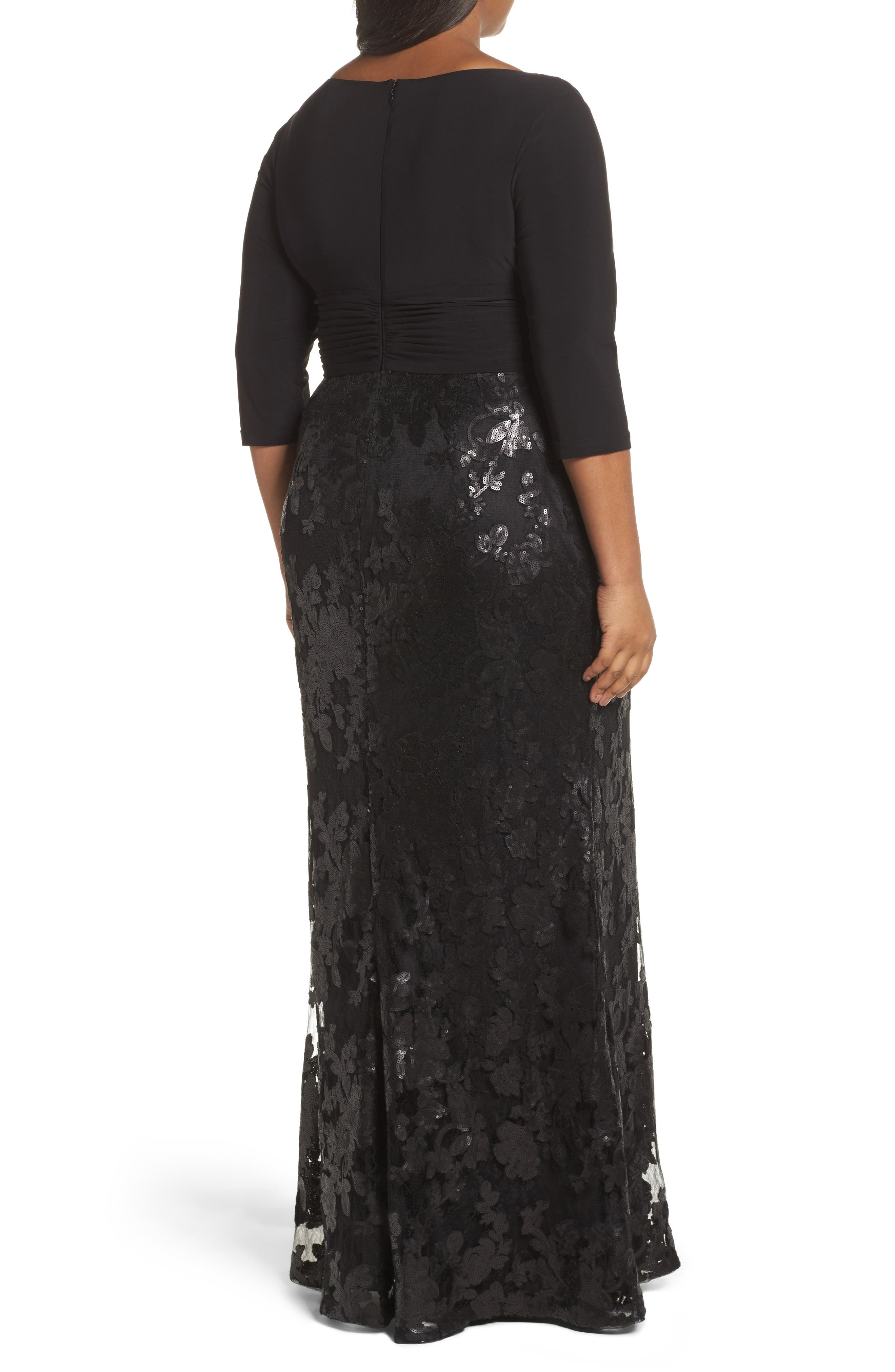 ADRIANNA PAPELL,                             Jersey & Sequin Lace Gown,                             Alternate thumbnail 2, color,                             002