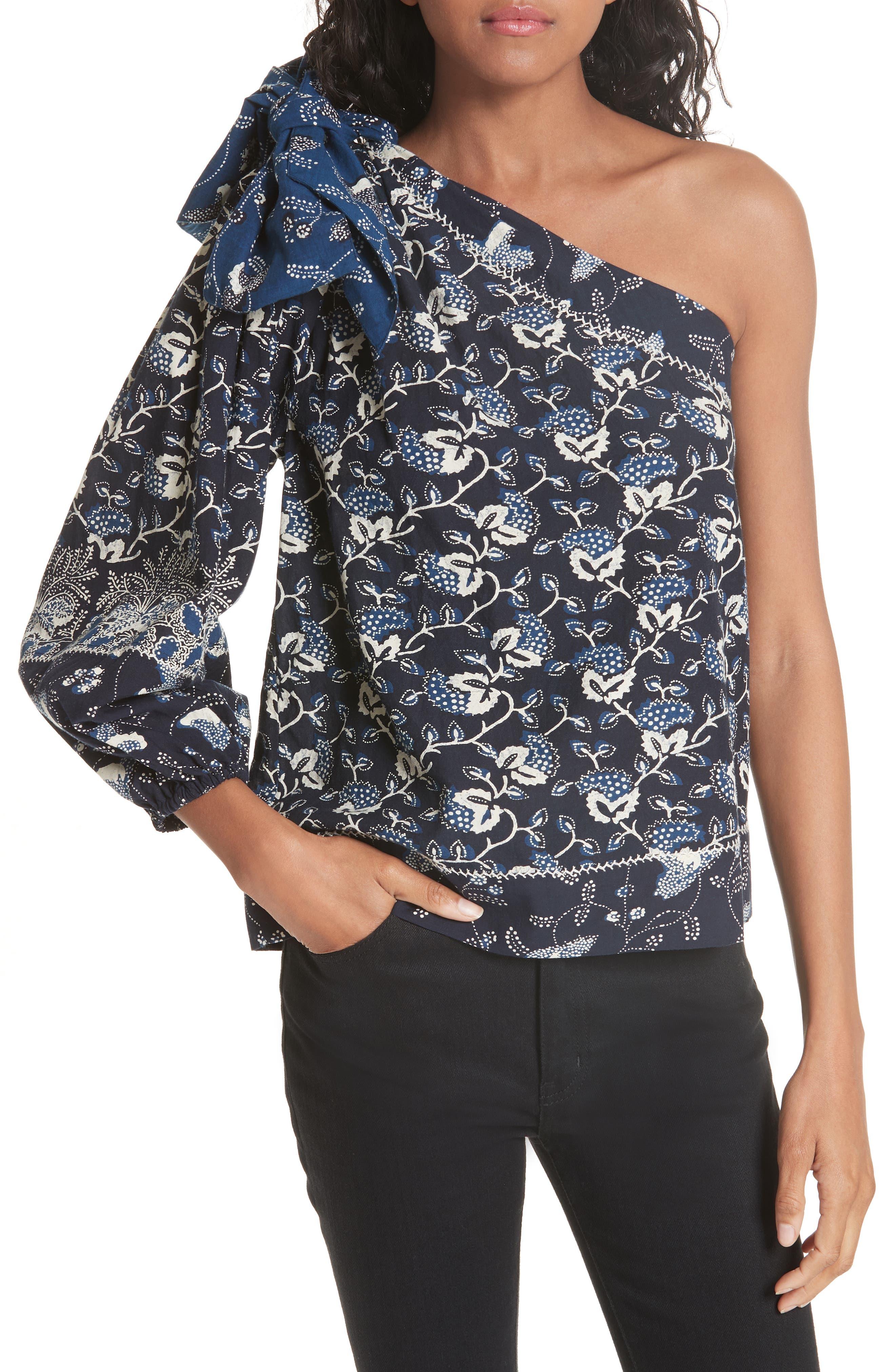 Asima Batik One Shoulder Blouse,                         Main,                         color, 400