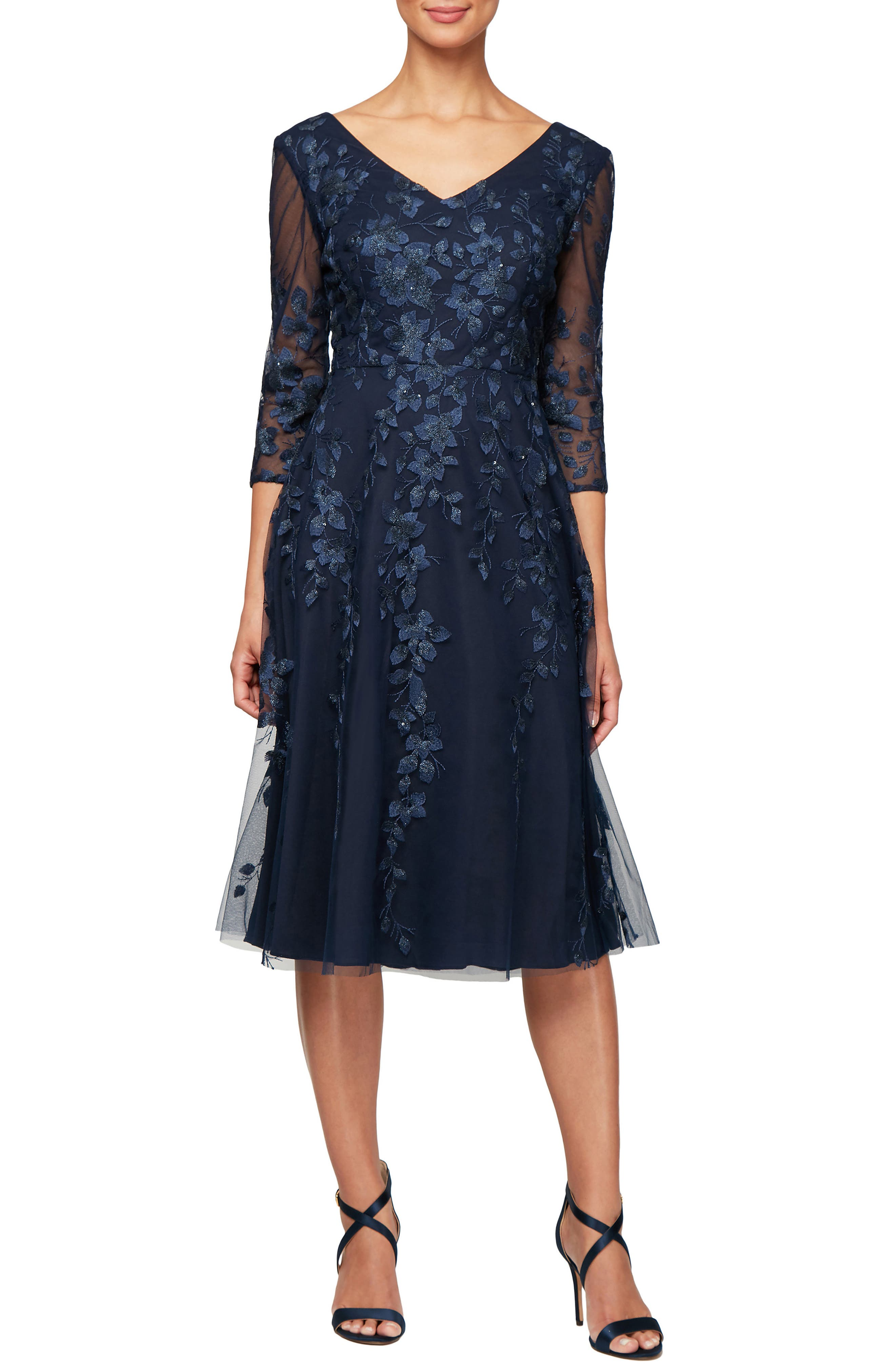 ALEX EVENINGS,                             V-Neck Embroidered Mesh Cocktail Dress,                             Main thumbnail 1, color,                             NAVY