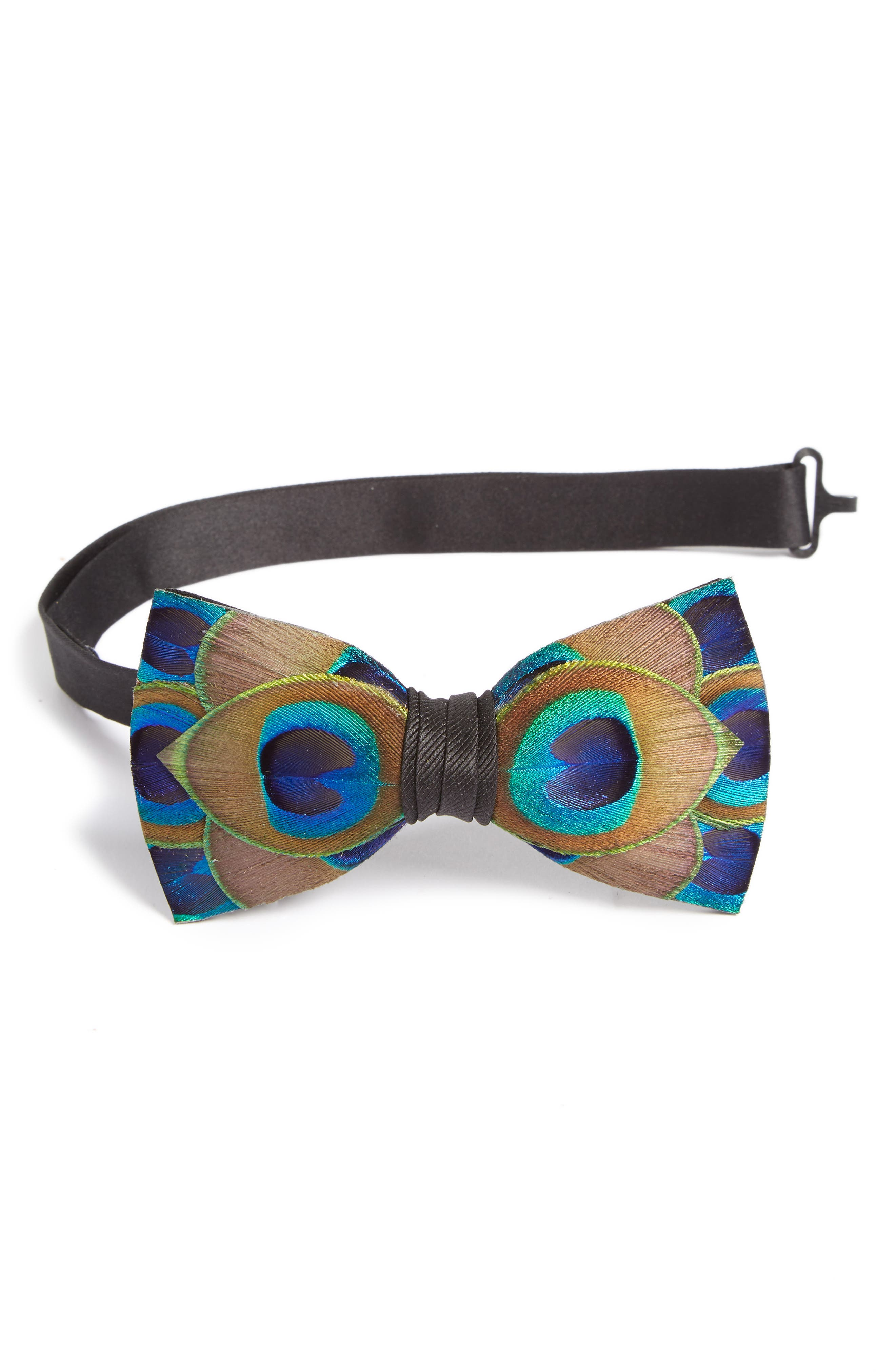 Hammock Feather Bow Tie, Main, color, BLUE